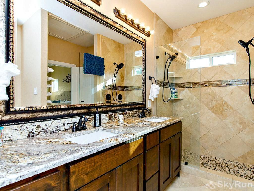 WINE DOWN LAKE ESCAPE Master Bath with Dual Sinks and Luxurious Walk-In Shower