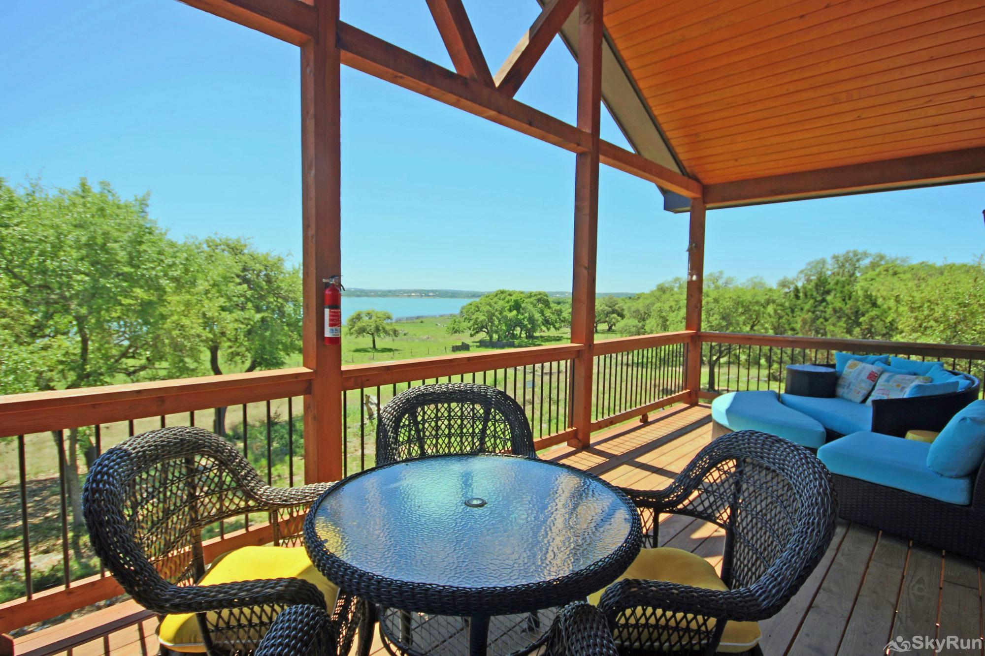 WINE DOWN LAKE ESCAPE Raised Deck with Lakeview and Comfortable Funiture