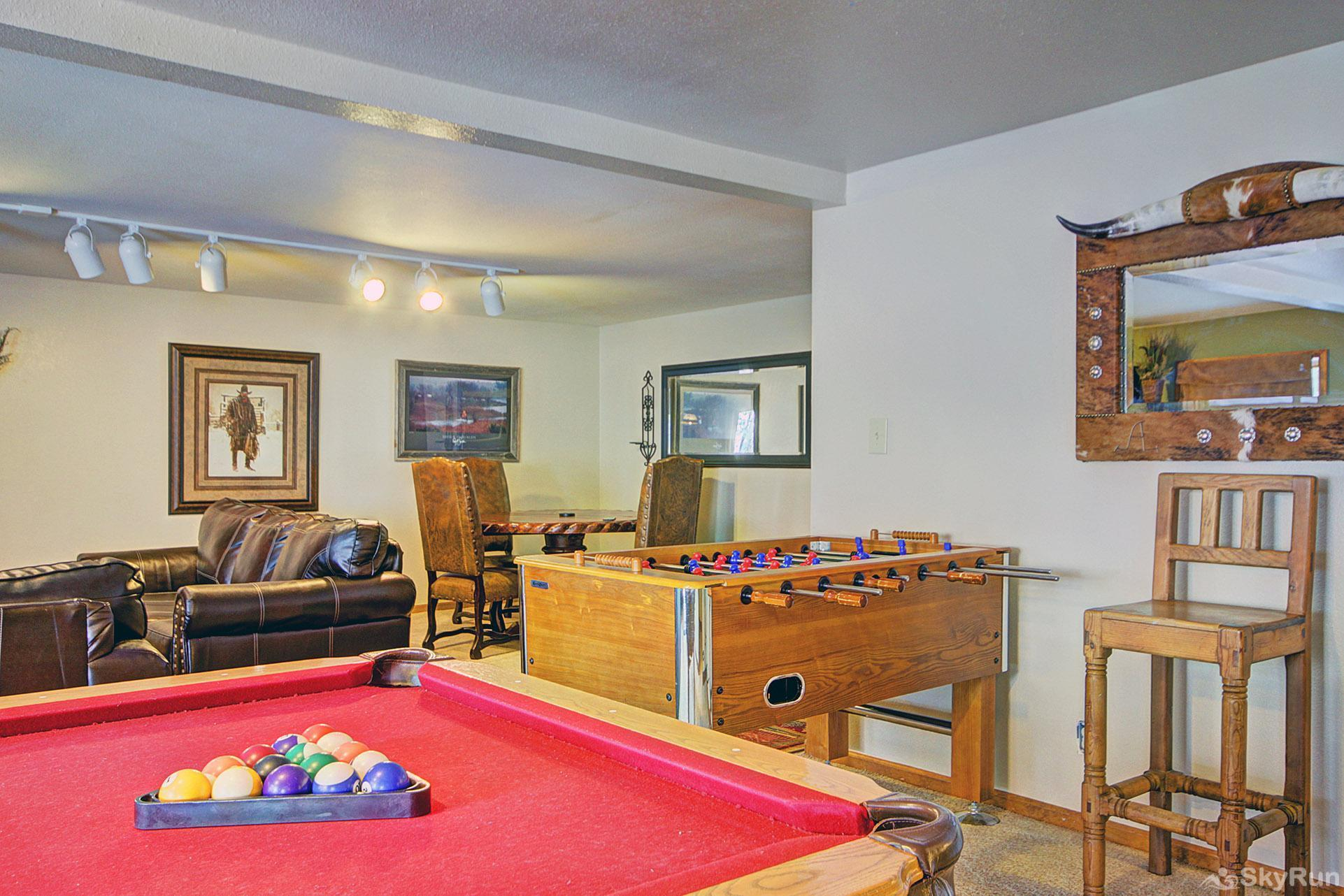 Gold King Lodge Lower Level Game Room Pool Table and Foosball Table