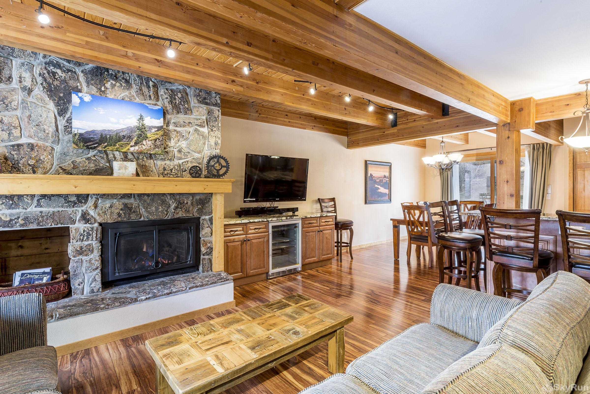 Waterford 10 You'll love this living room with gas fireplace. It overlooks the dining area and huge breakfast bar.