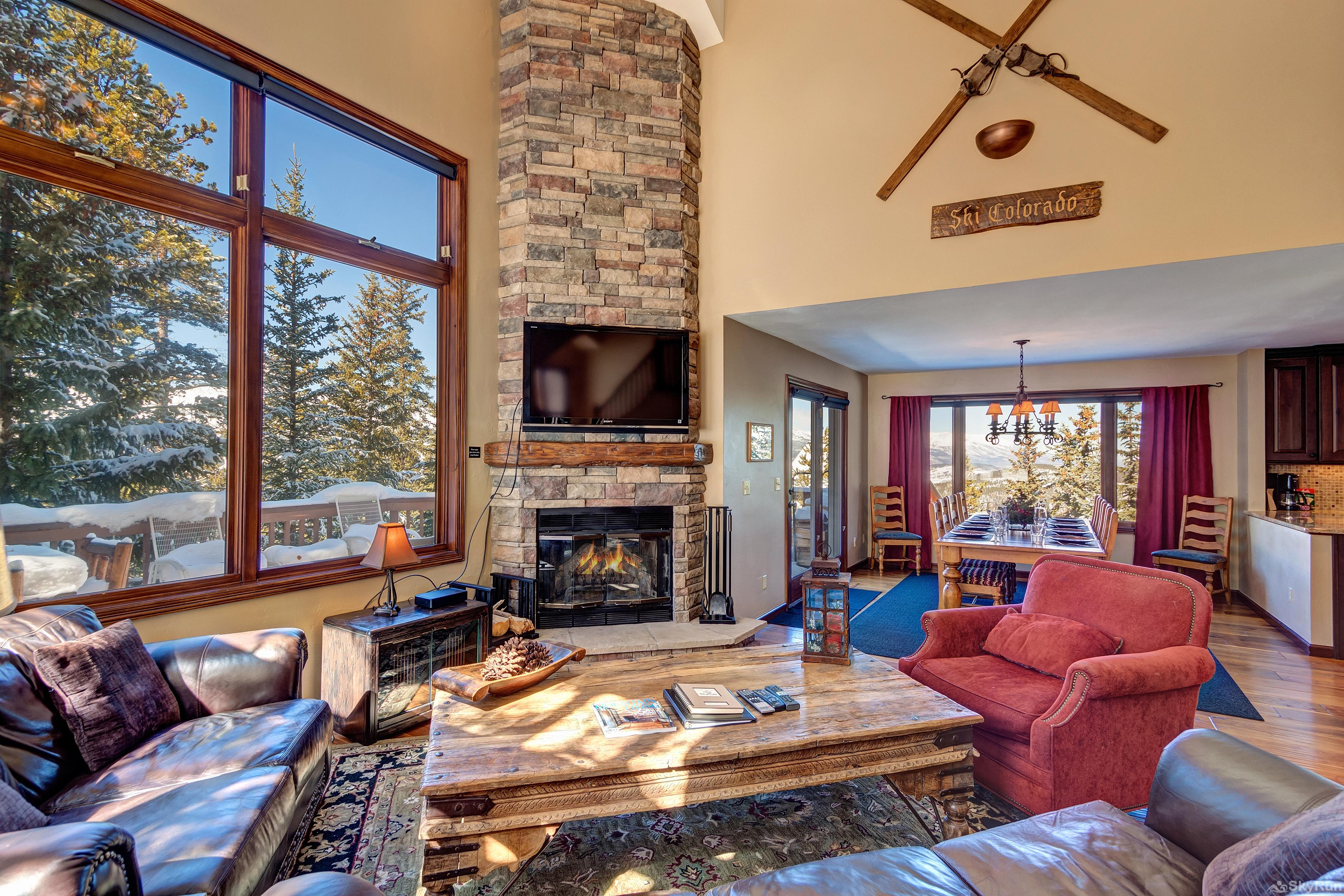 Grande Vista Beautiful floor-to-ceiling stone fireplace