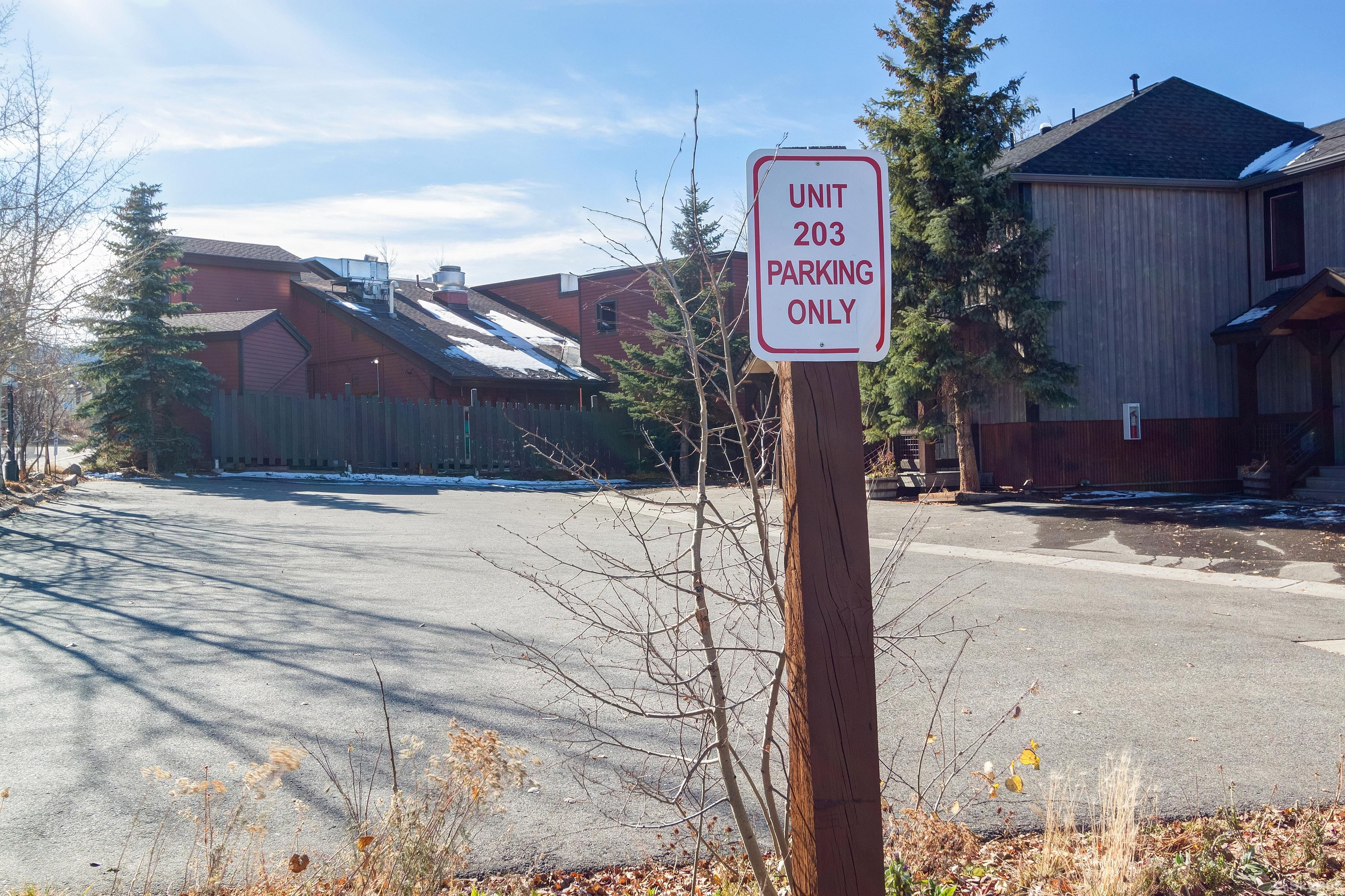 Alpine 203 Assigned outdoor parking spot for 2 vehicles
