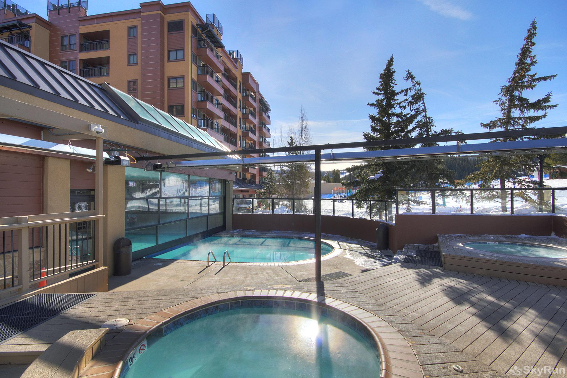 Village at Breck Antero 1503 Pool area with 2 outdoor hot tubs