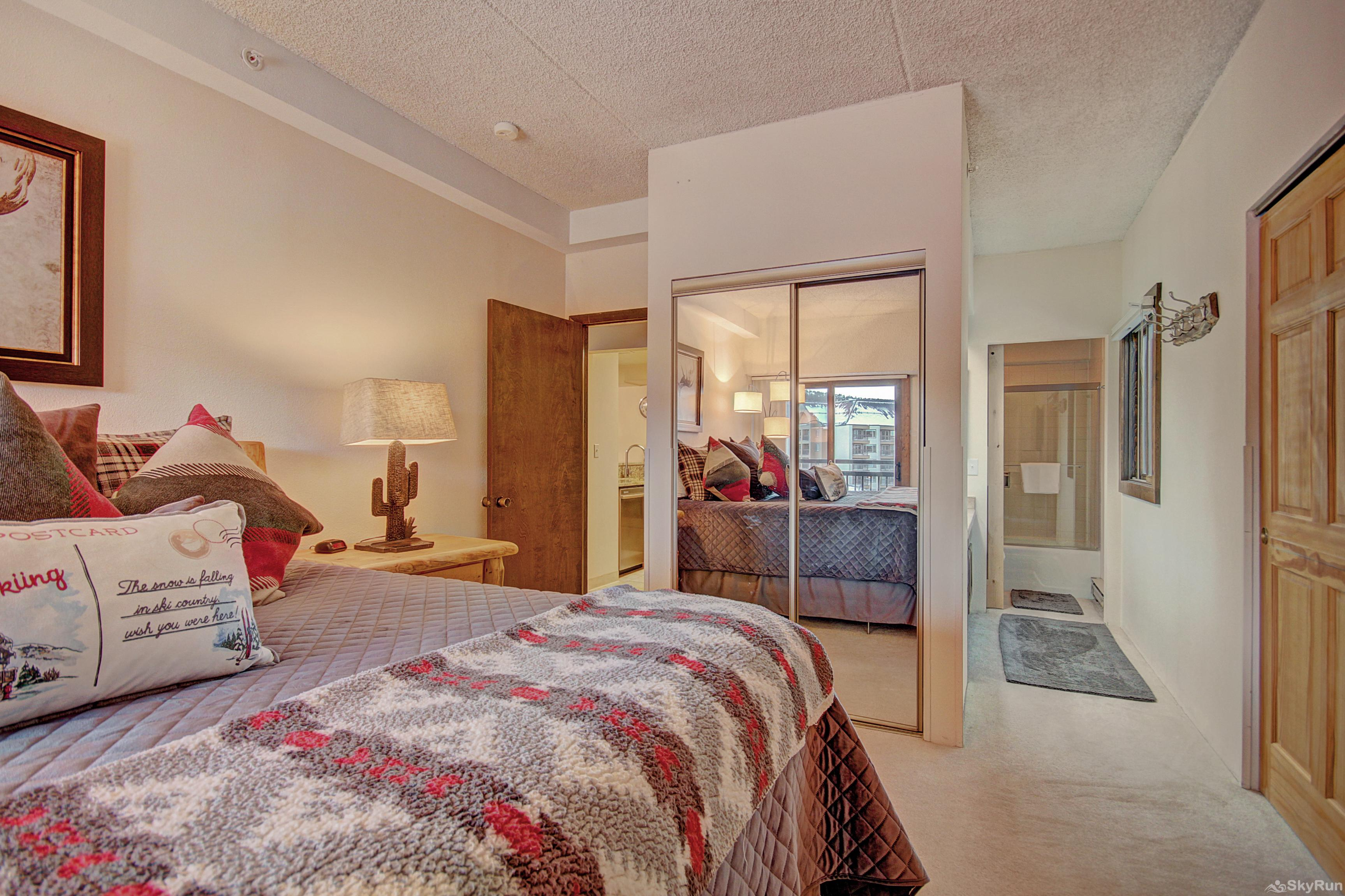 Village at Breck Antero 1503 King master bedroom with ensuite bath, walk out balcony, flat screen TV