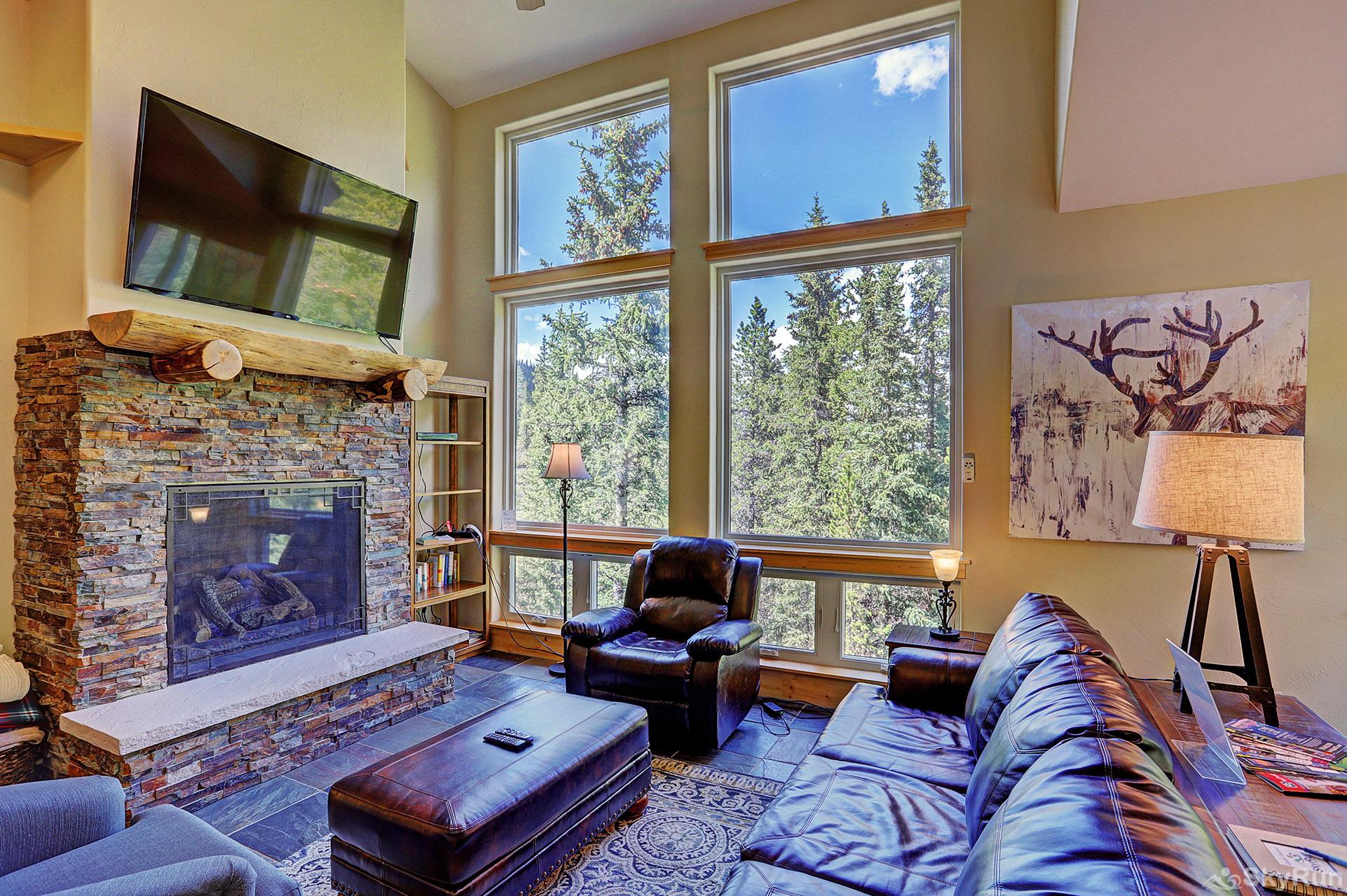 Twin Creek Lodge Large windows provide ample natural light for the living area