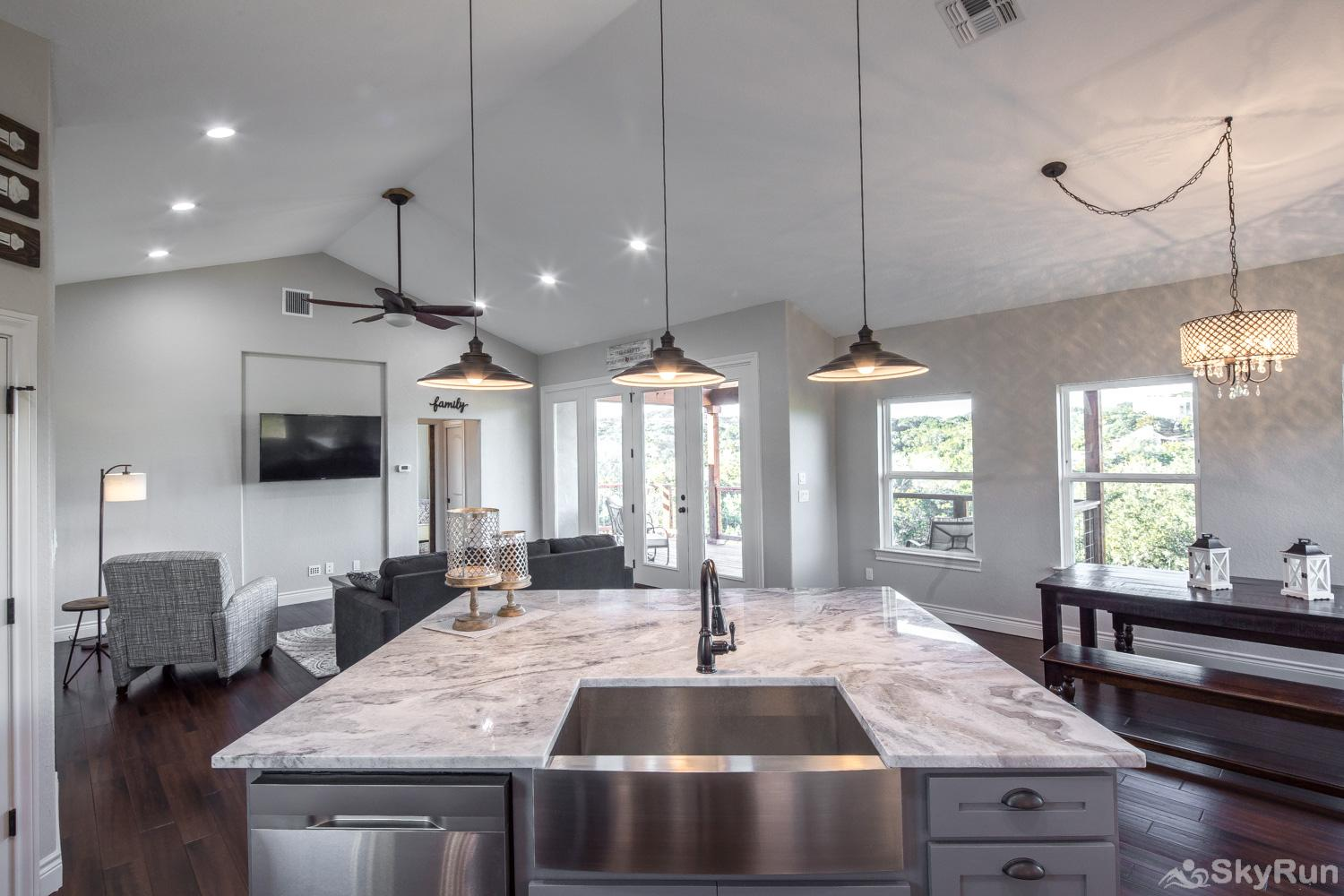 LAKESIDE LEDGE Huge Kitchen Island Overlooking Family Room