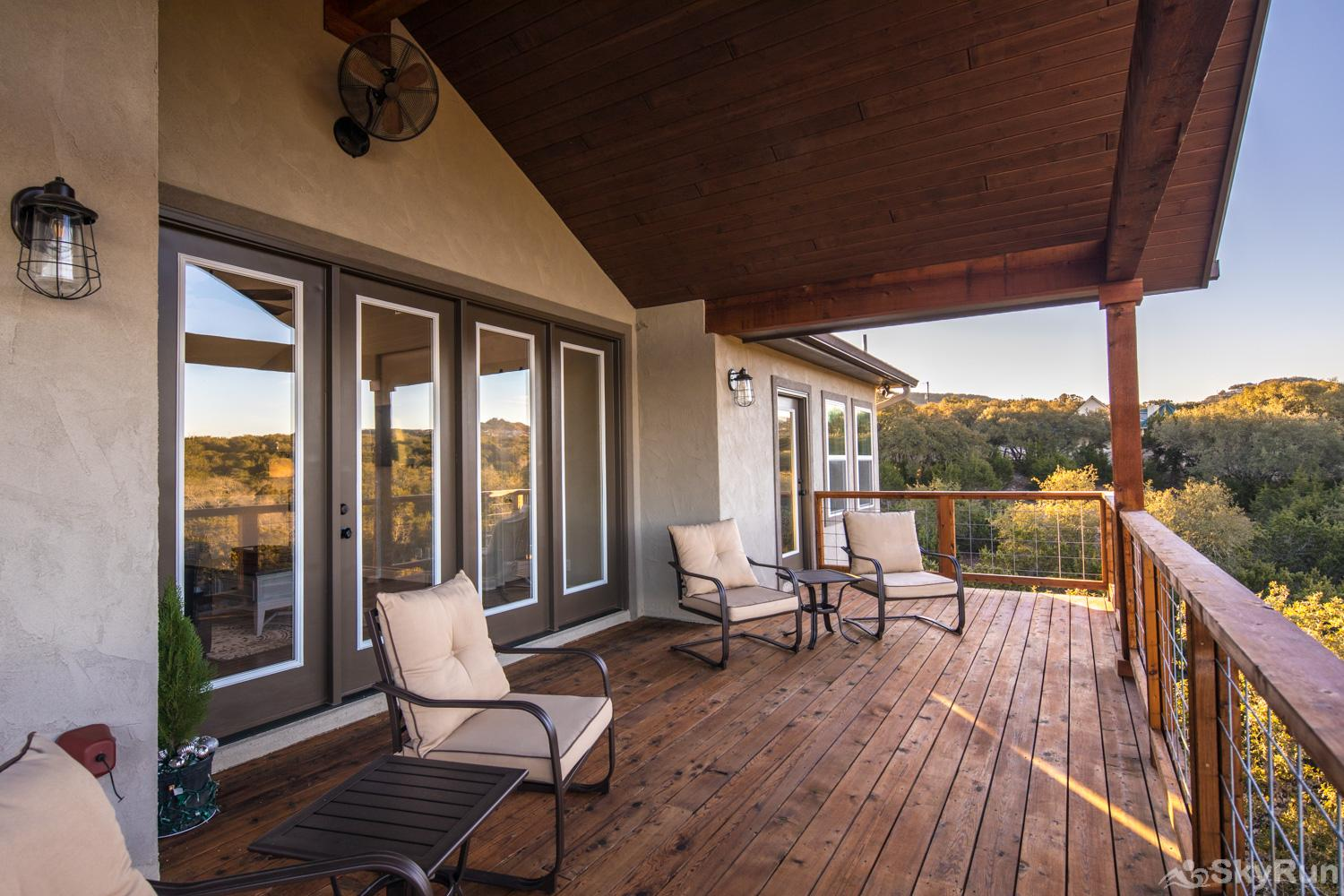 LAKESIDE LEDGE Covered Deck off Main Living Areas