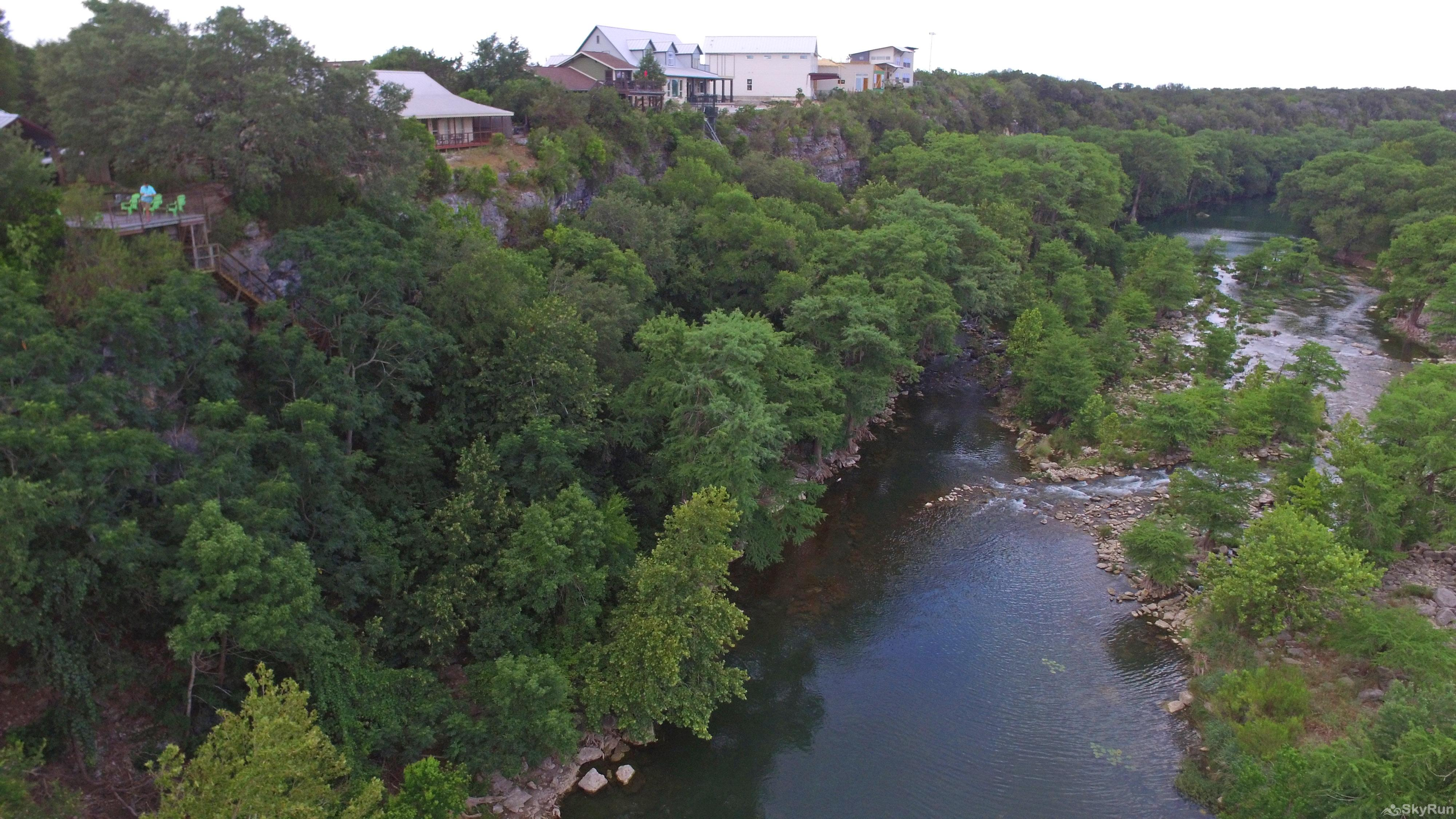 GRUENE VISTA ON THE GUADALUPE Guadalupe River with Gruene Vista's Deck on Left Side Bank