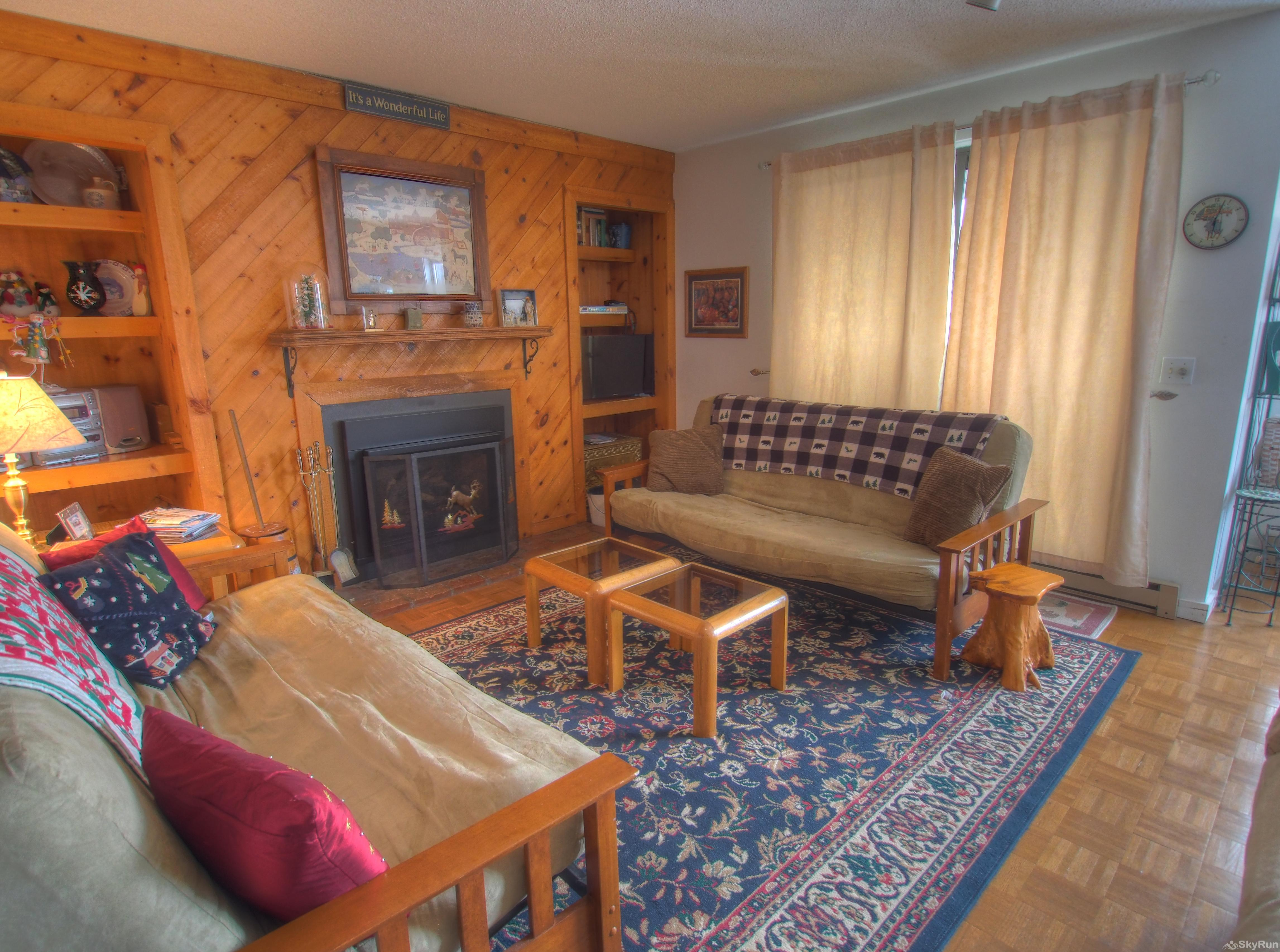 14 Snowside Open living room with gas fireplace