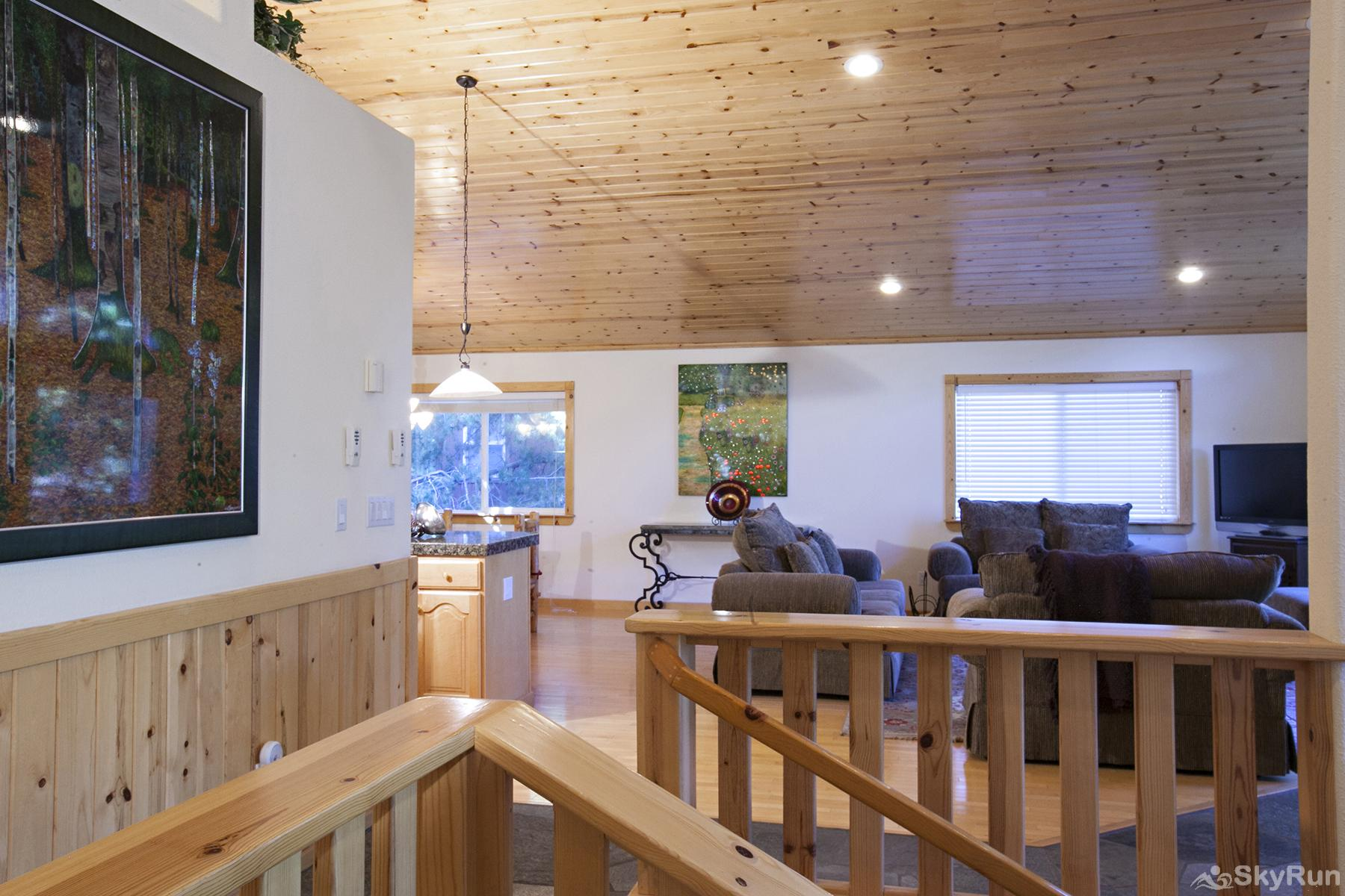 Alder Creek Mountain Home at Tahoe Donner Top of entrance stairs