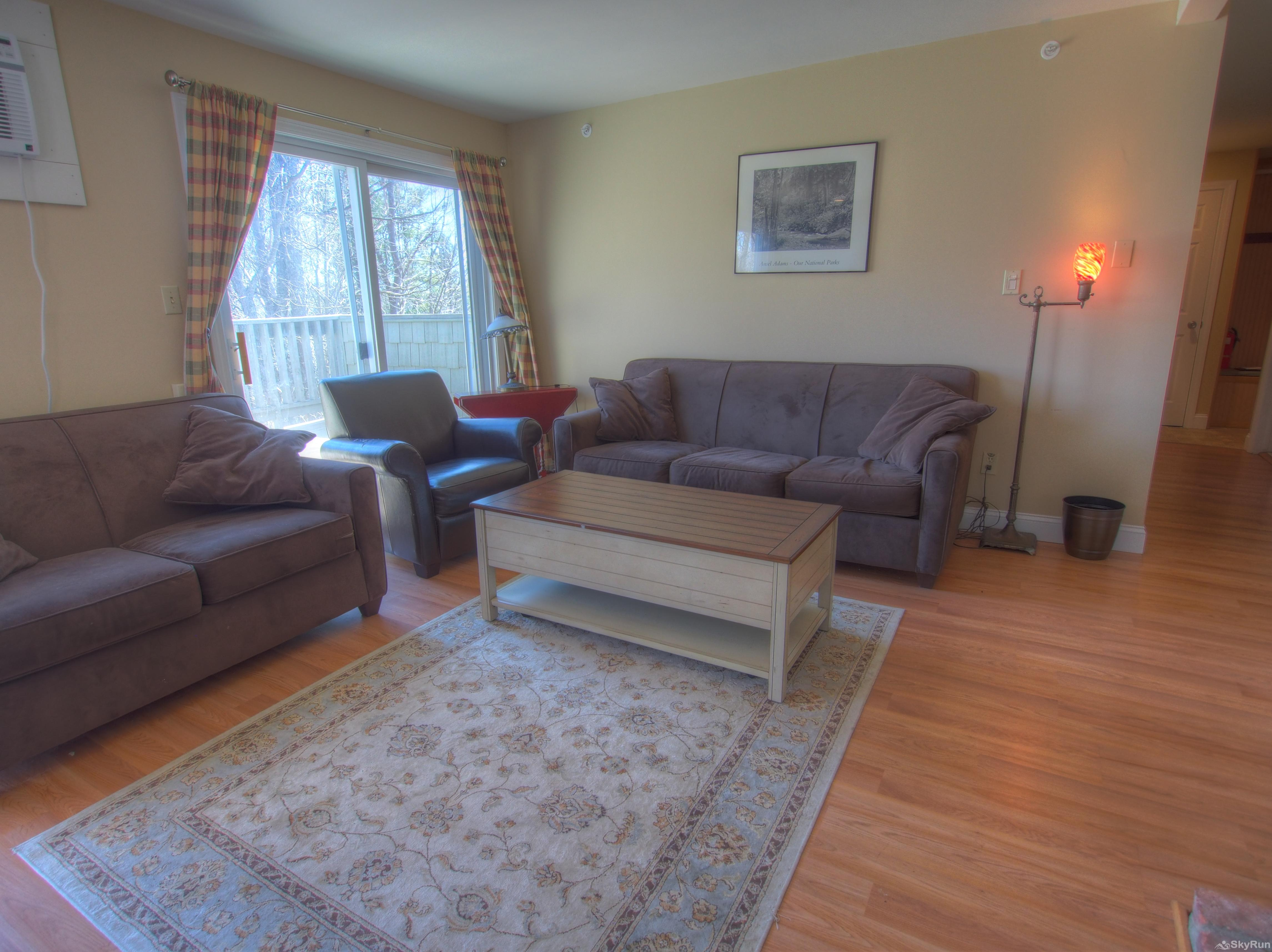 Stowe Mountainside Condo Comfy seating in spacious living room