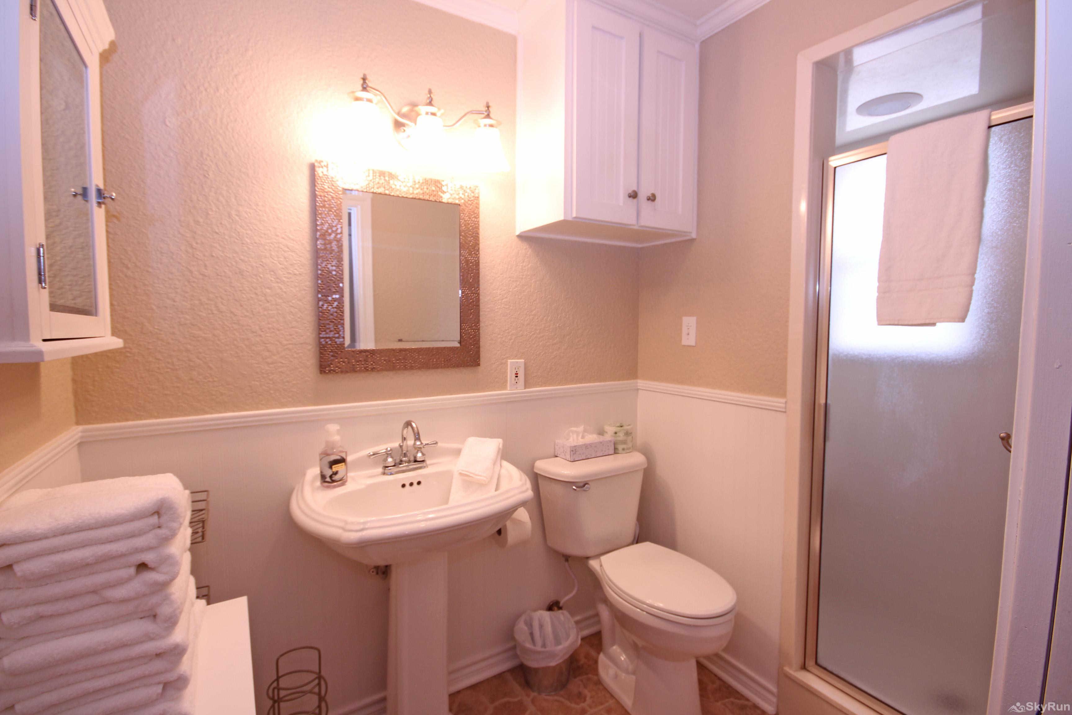 MAVERICK'S RIVER HAUS & GUEST HAUS Second full bathroom with walk-in shower