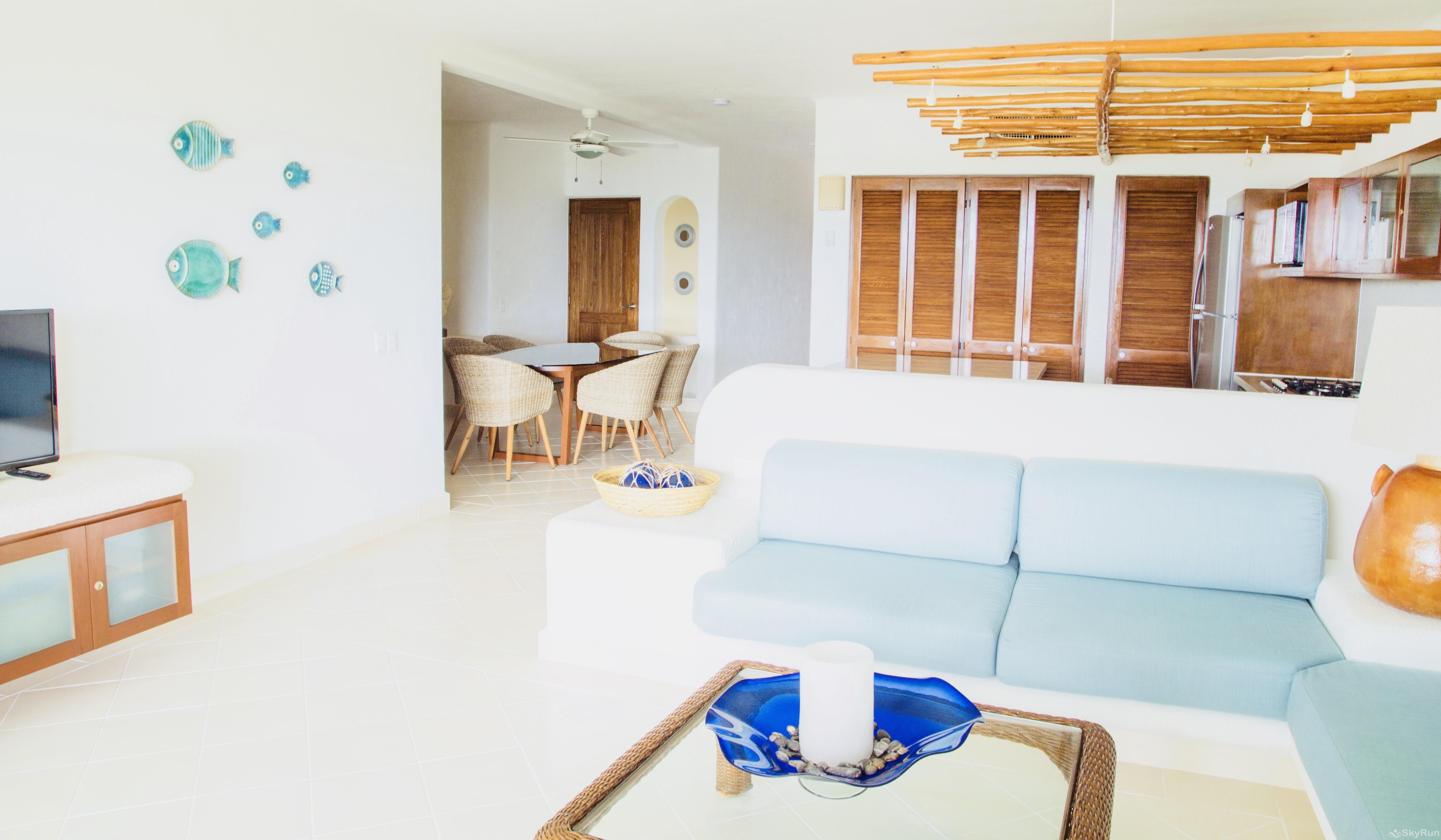 Beachfront Tulum condo 113 Outdoor Pool Resort Amenities Living Room Area