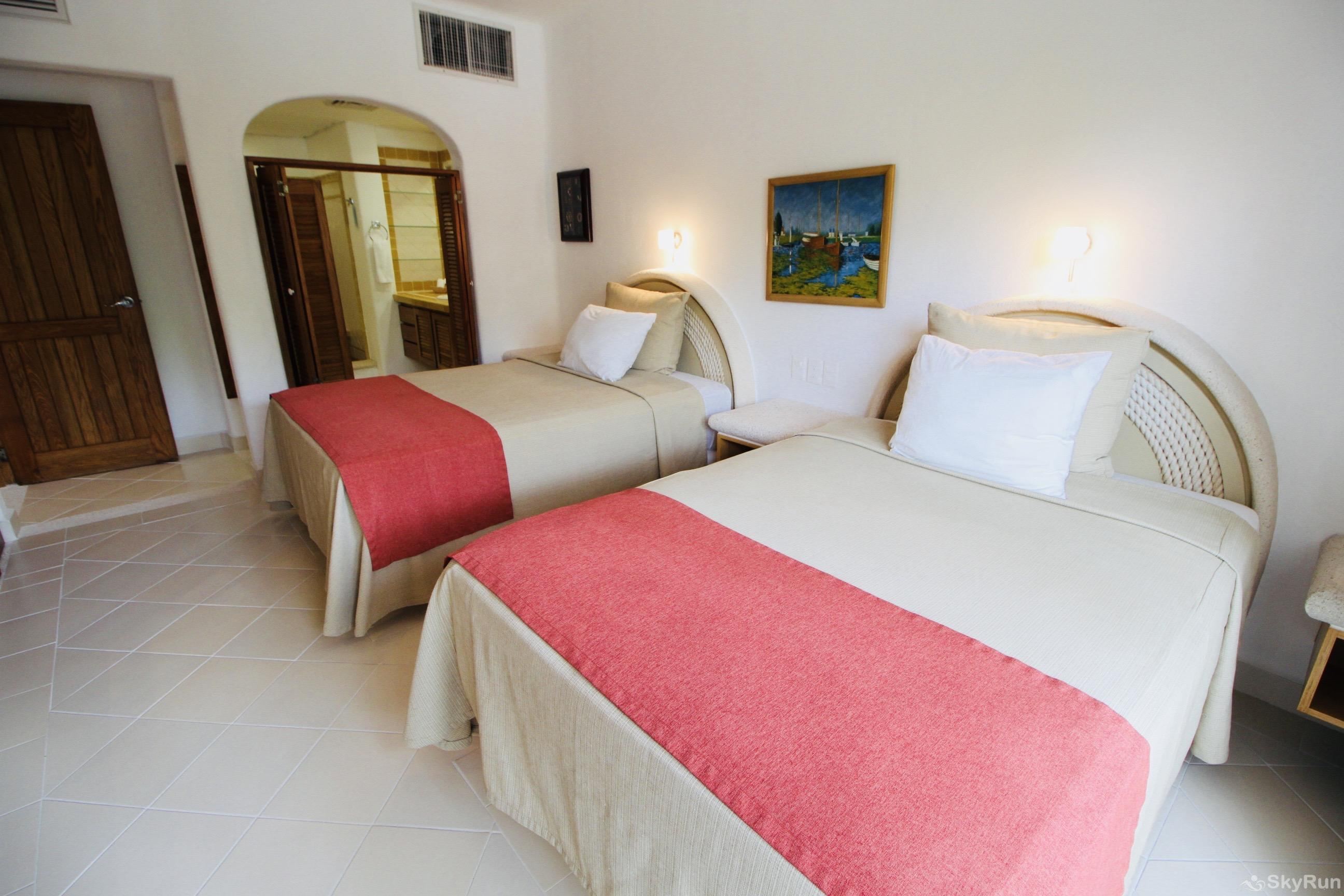 Stunning Beachfront Villa at Akumal, exclusive area north of Tulum 2nd Bedroom 2 Queen Beds