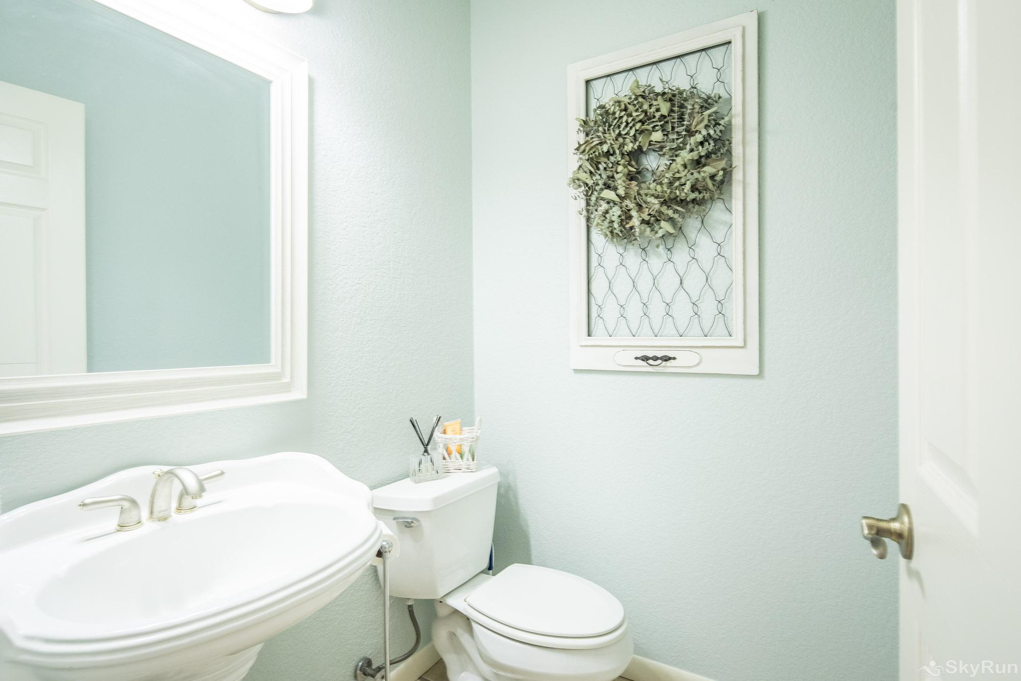 SERENITY SHORES Half Bathroom with Pedestal Sink