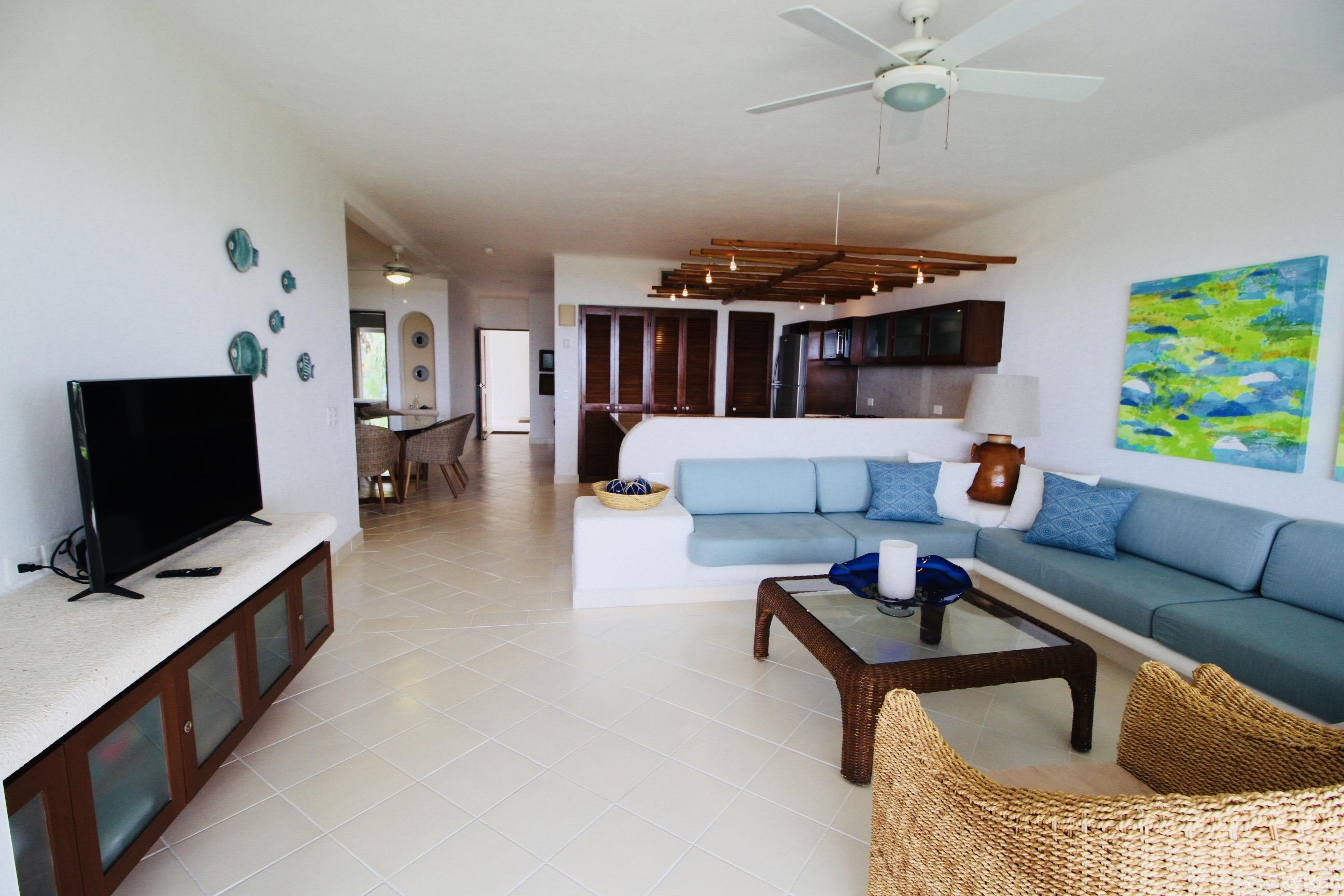 Las Villas Akumal 109 2 Bedroom 2 floor Living Room Area