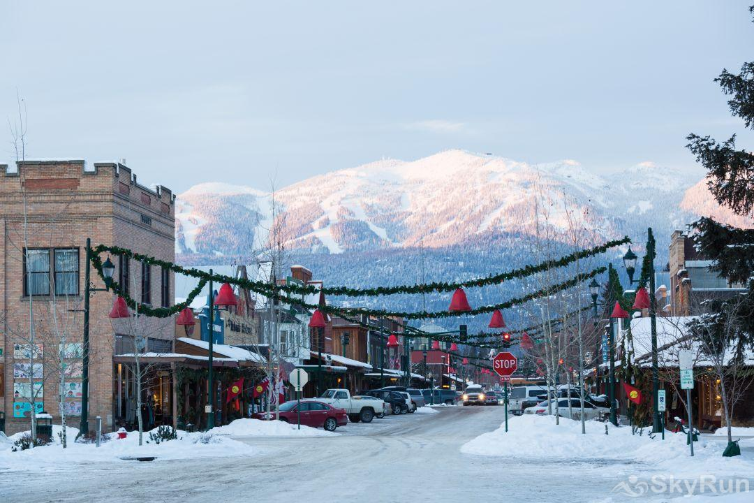 Red Fox Hollow Downtown Whitefish in the winter with Whitefish Ski Resort in the background.