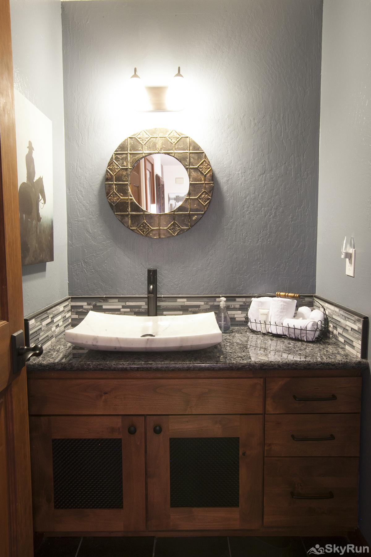 Luxury Lodgepole Home at Northstar Guest Half Bathroom (main level)