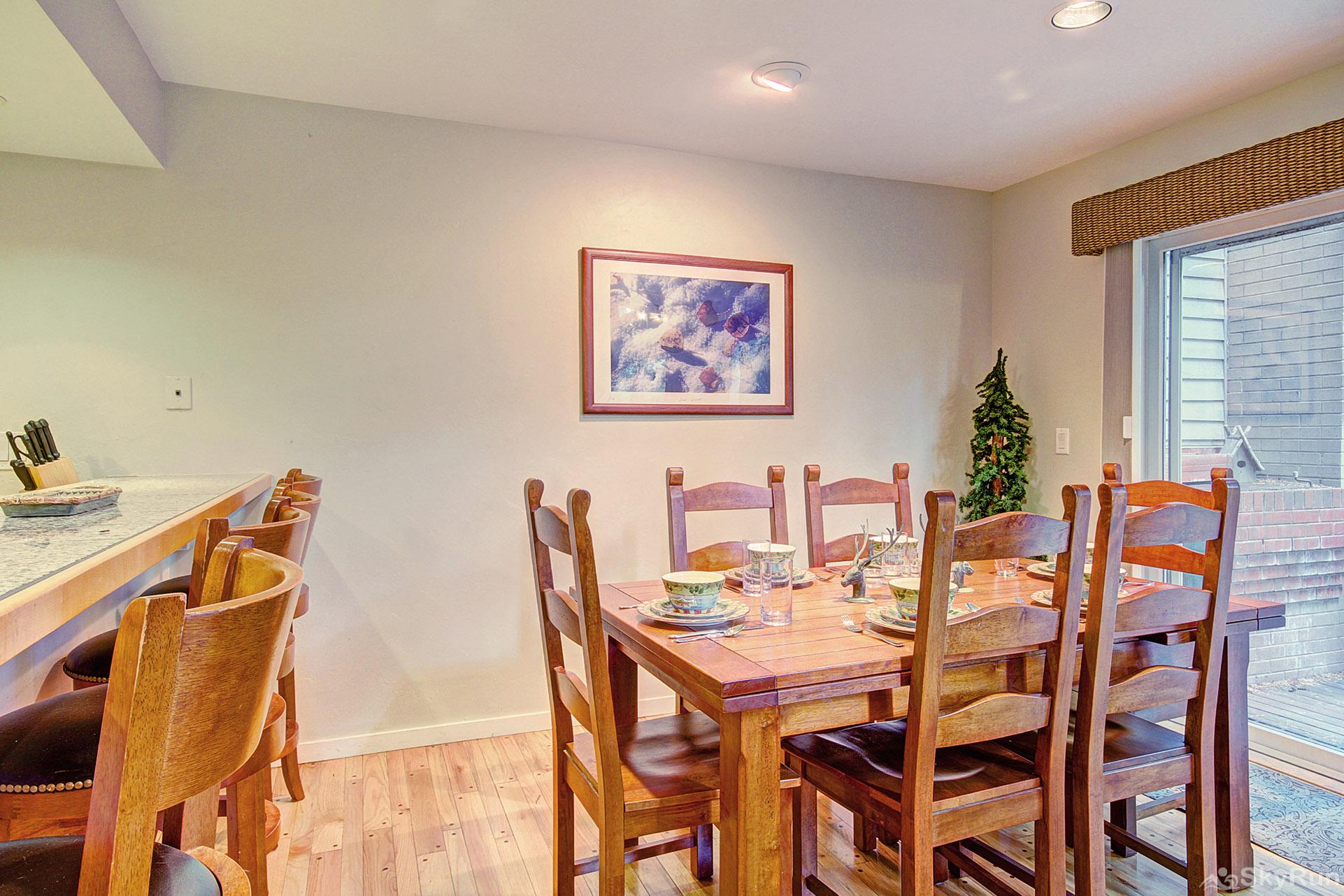 Peace In The Pines Dining table with seating for 6, additional seating for 4 at counter top