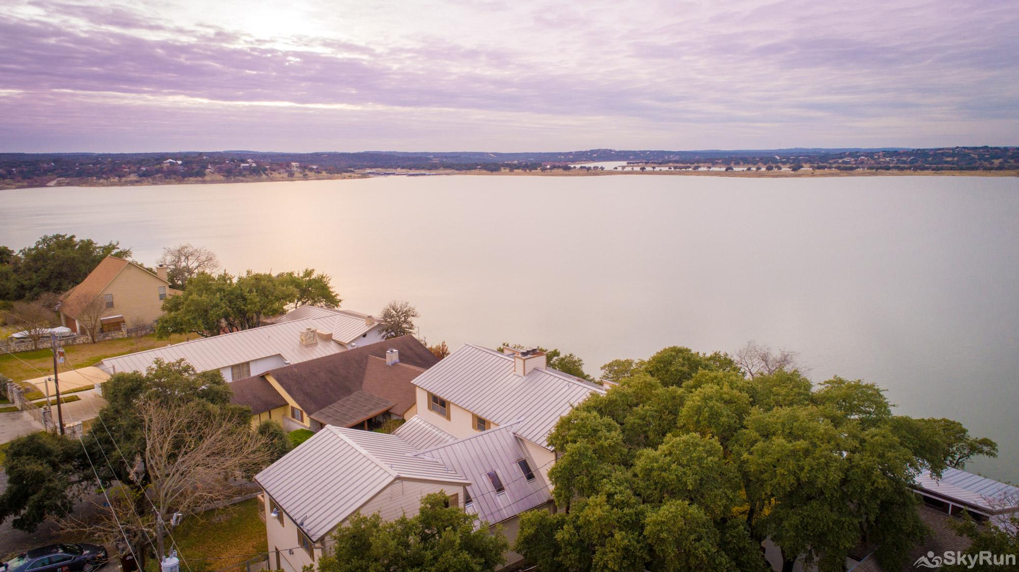 WATER'S EDGE RETREAT Aerial view from high above the home