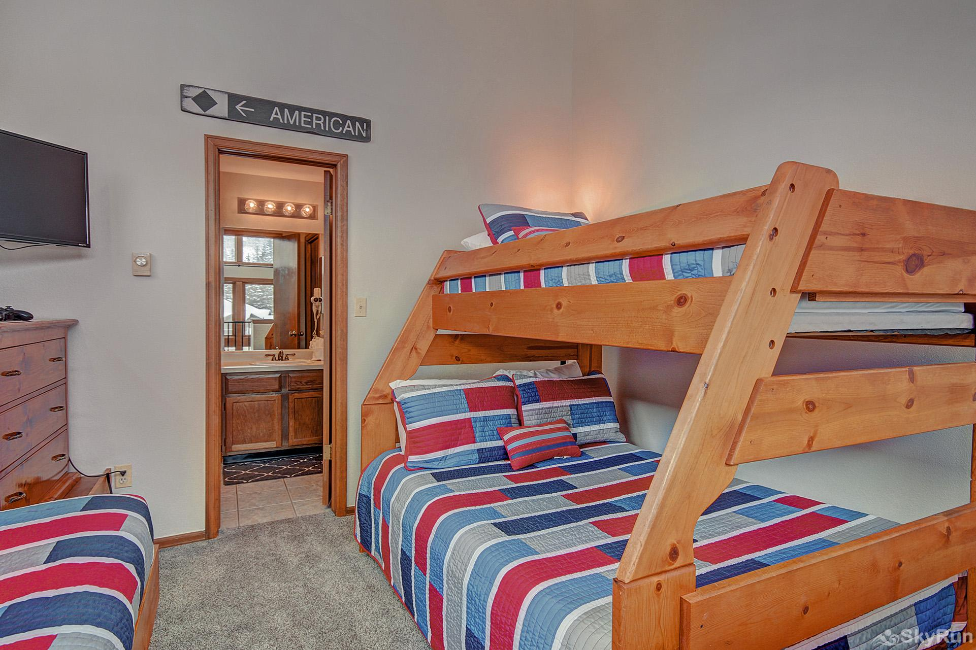 Ski Hill 22 Upper level bedroom with twin bed and twin over queen bunk