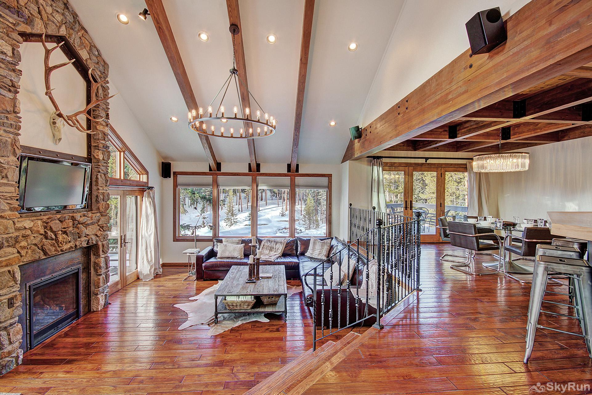 Summit Solitude Estate Large open floor plan living area with lofted ceilings