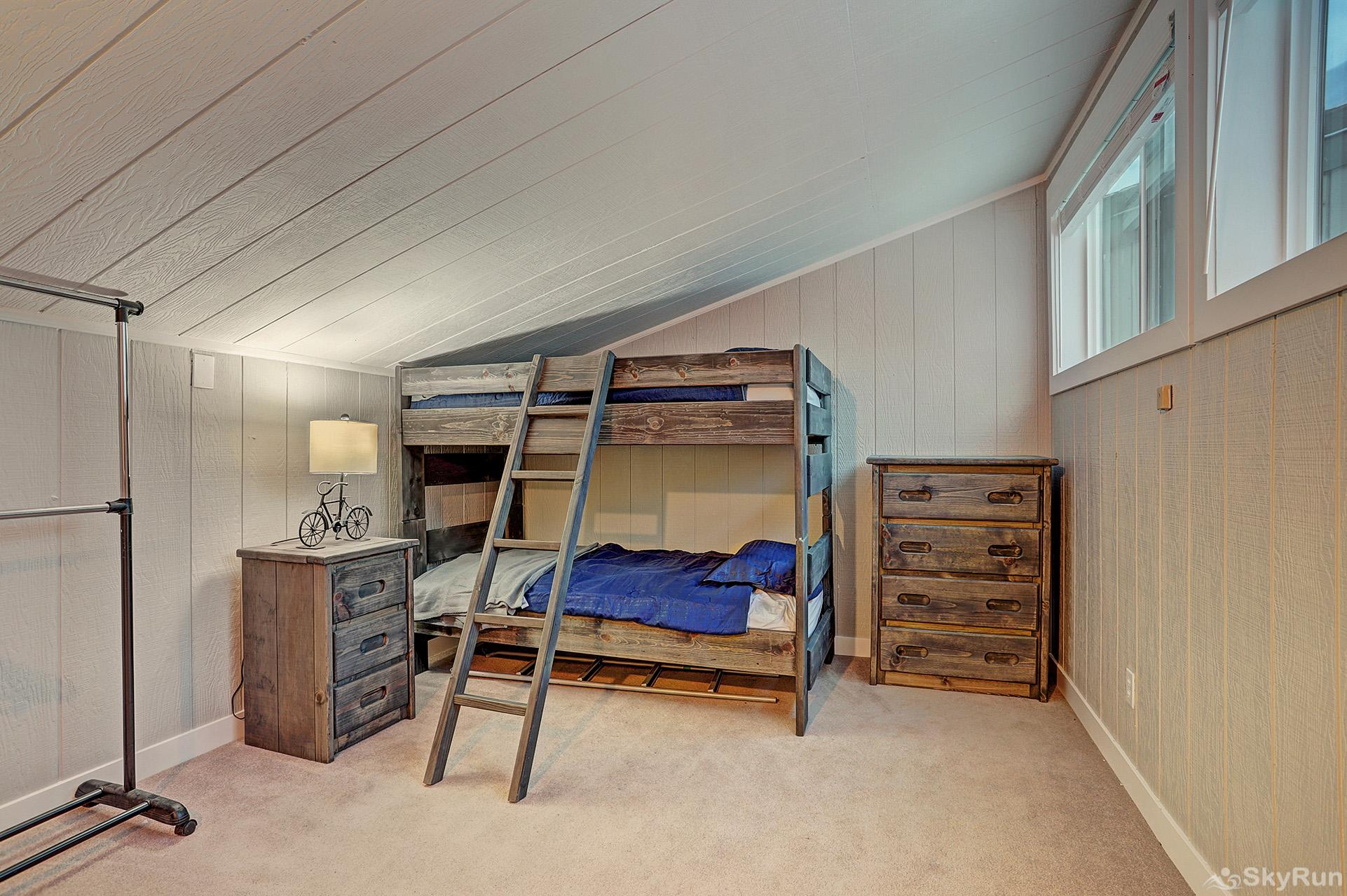 Knotty Pine Lodge Top floor bunk room with twin over twin bunks