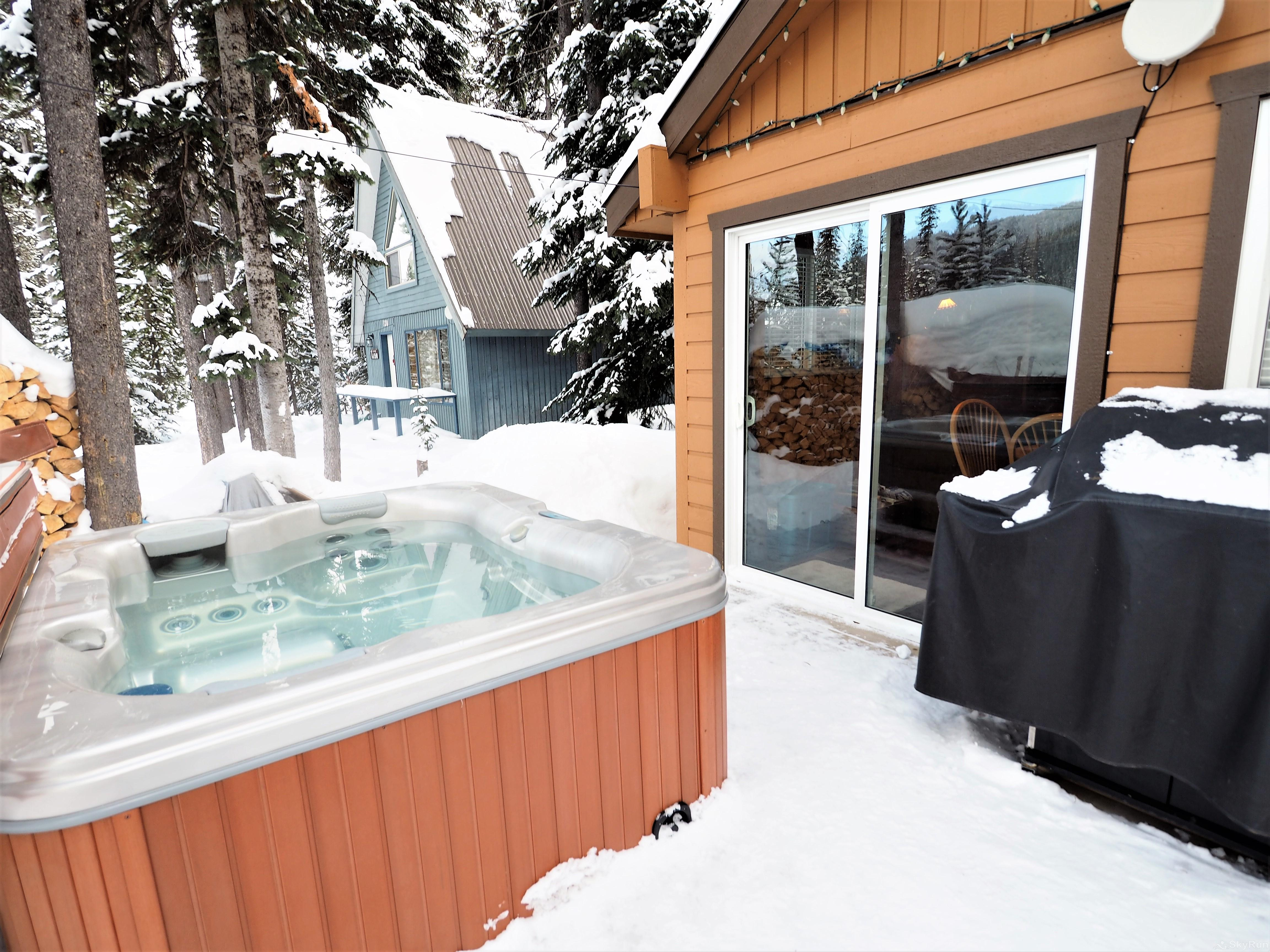 Mountain Air Retreat Private hot tub, BBQ and entrance to the living room