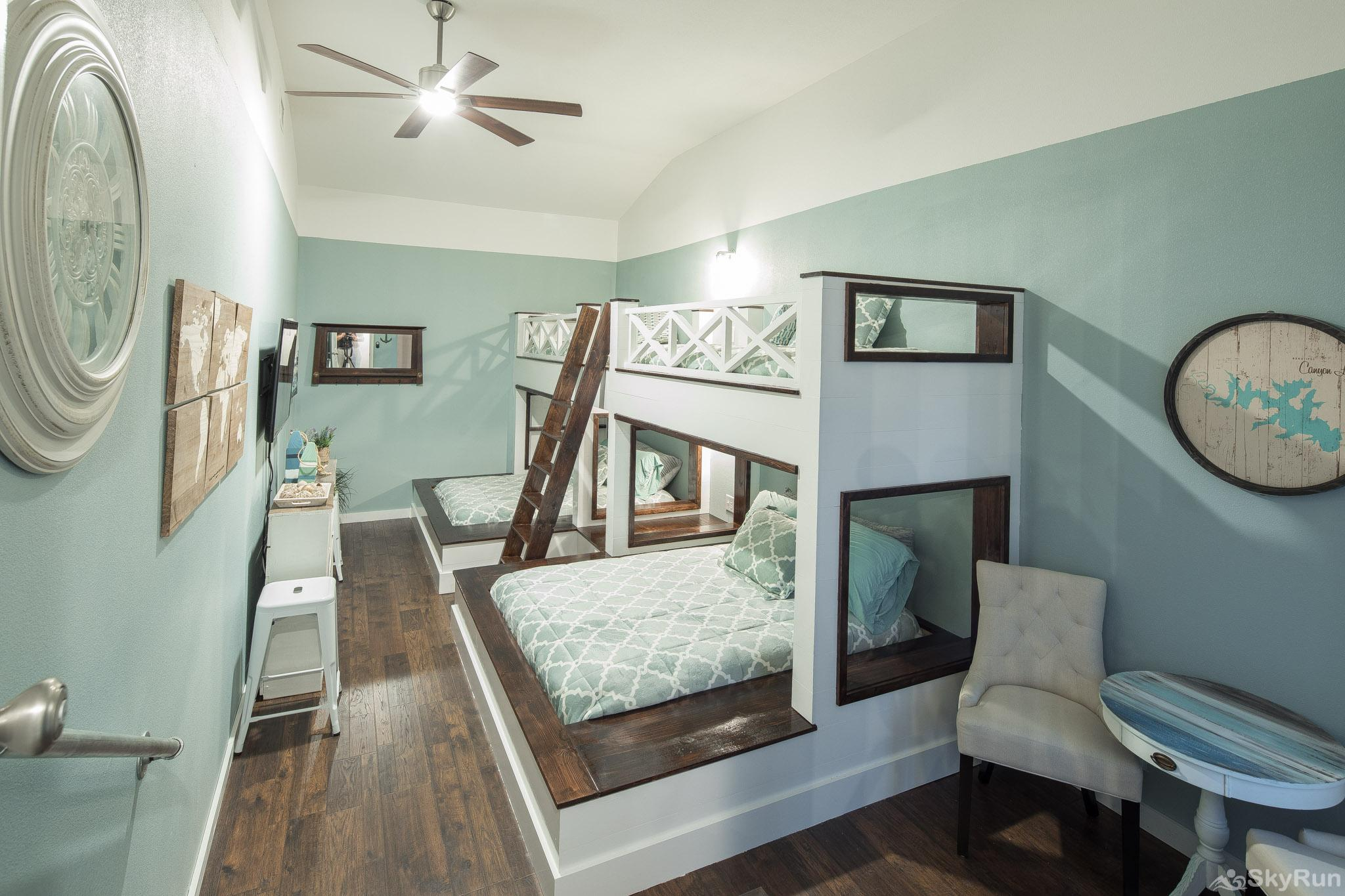 WATERFRONT GRACE Lovely bunk room with custom bunk beds