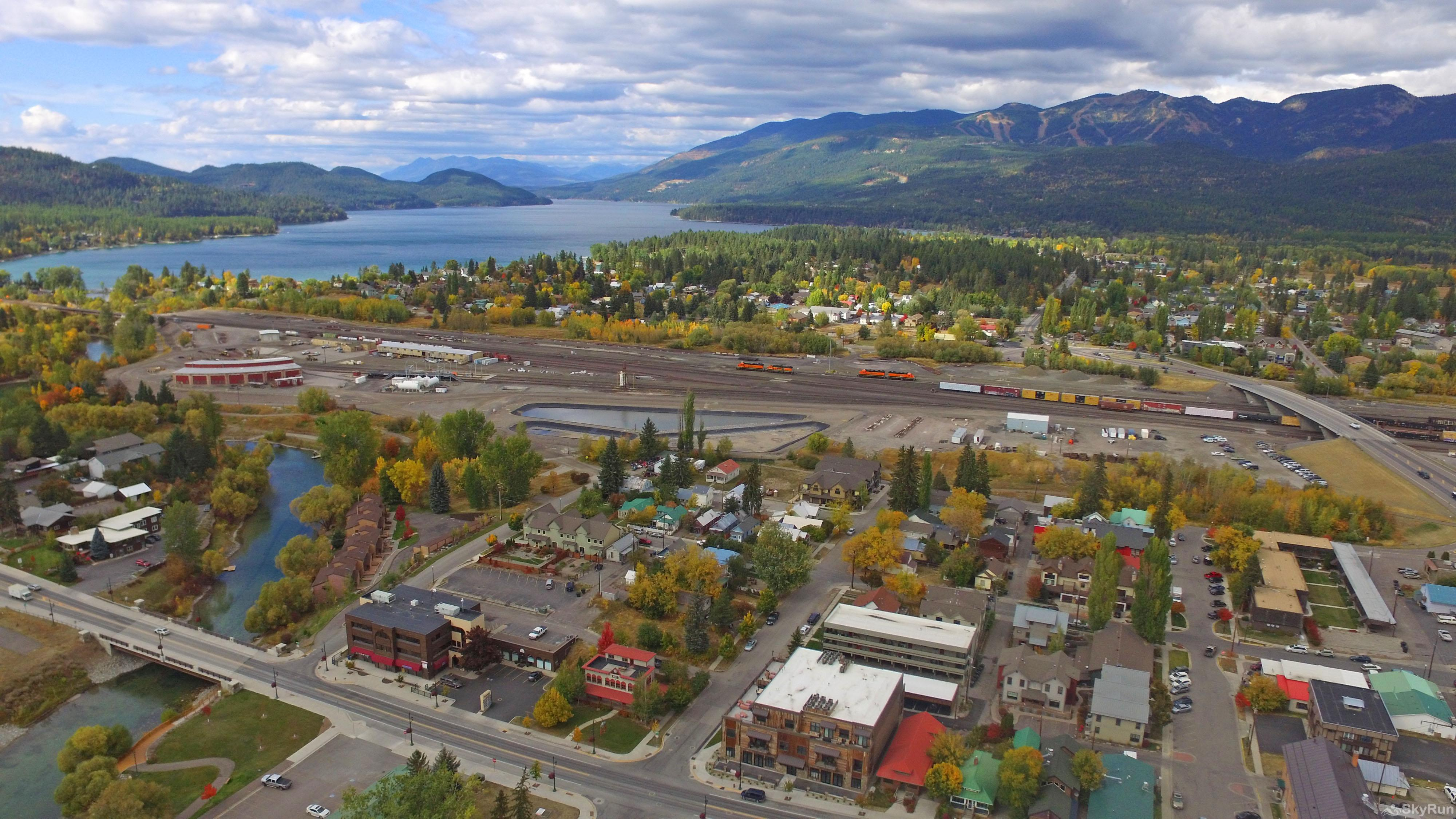 Whispering Pines Chalet Downtown Whitefish with the lake and ski resort in the background