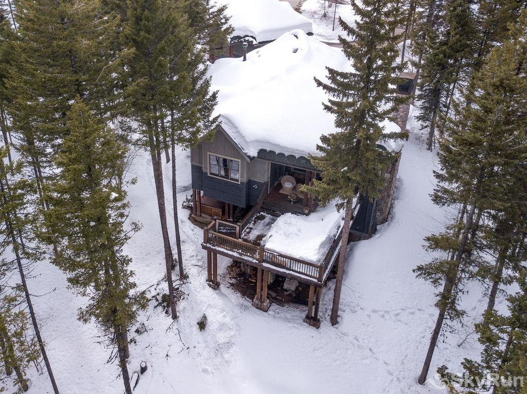 Whispering Pines Chalet Bird's eye view of the back - notice the deck and below is the hot tub.