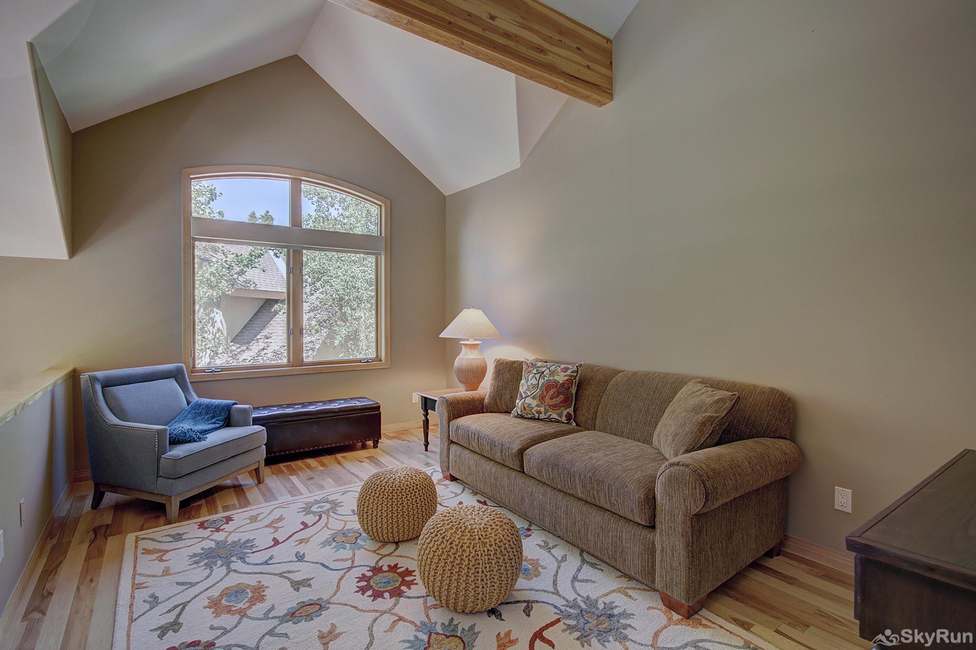 Tall Pines Lodge Queen sleeper sofa provides additional accommodations for 2 in the loft