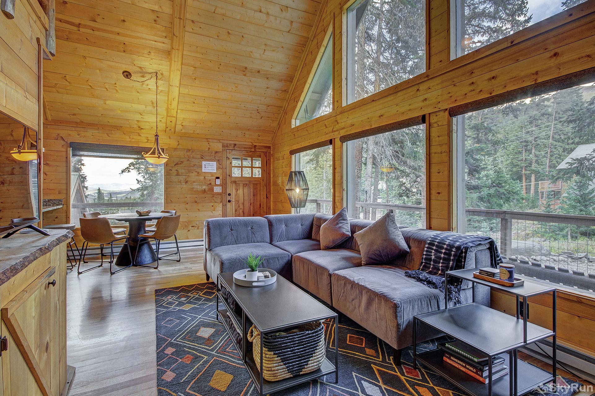 Black Bear Chalet Cozy living room with gas fireplace and flat screen TV