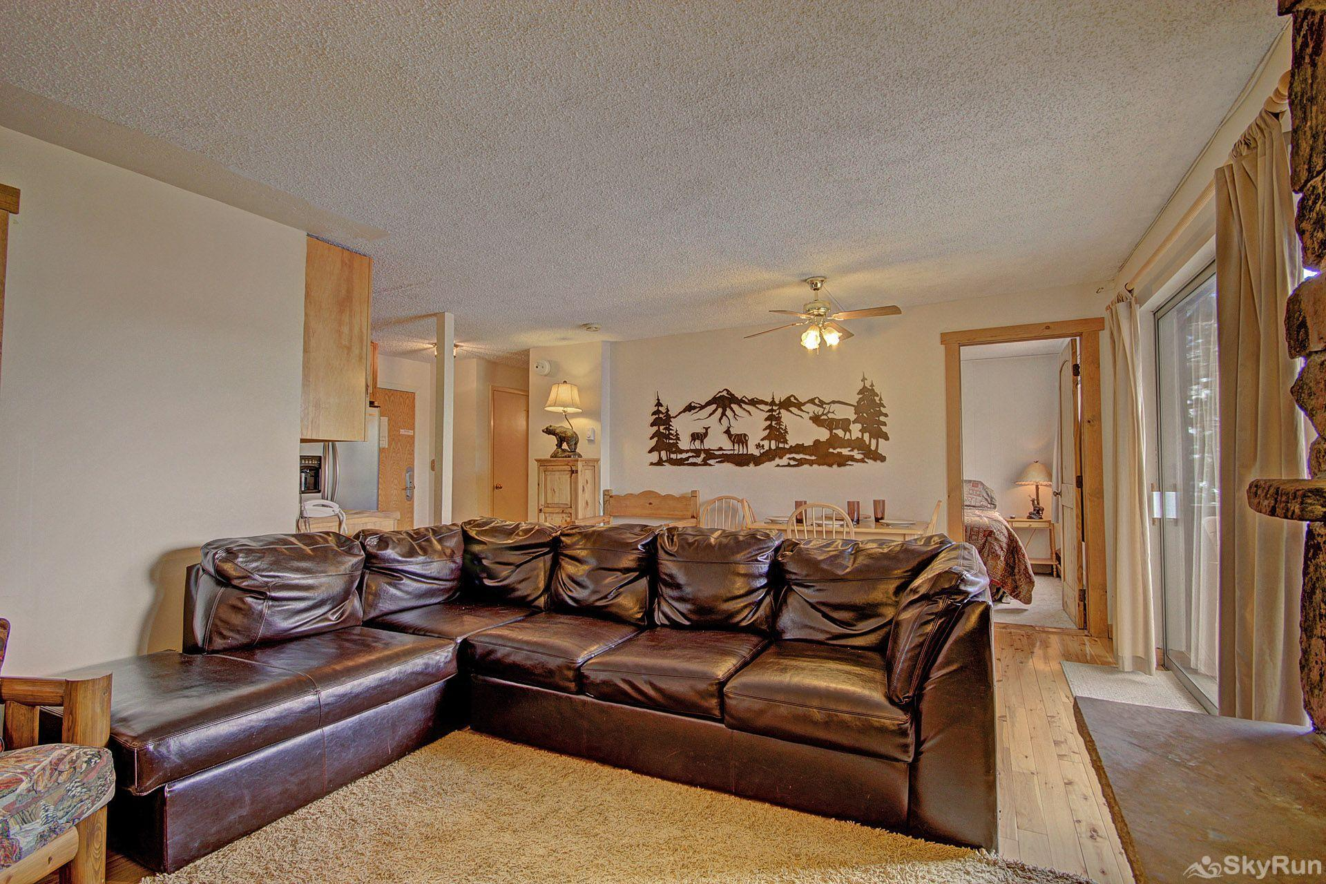 Storm Meadows East E31 The leather sectional will accommodate the entire family.