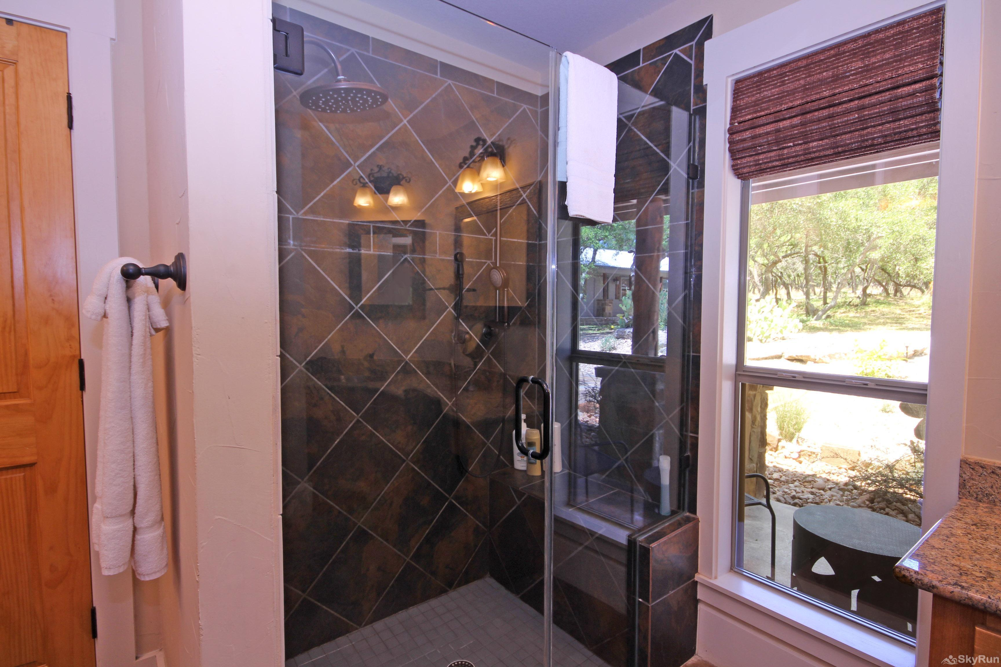 HILLTOP HIDEAWAY Large, Walk-in Shower in Master Bathroom