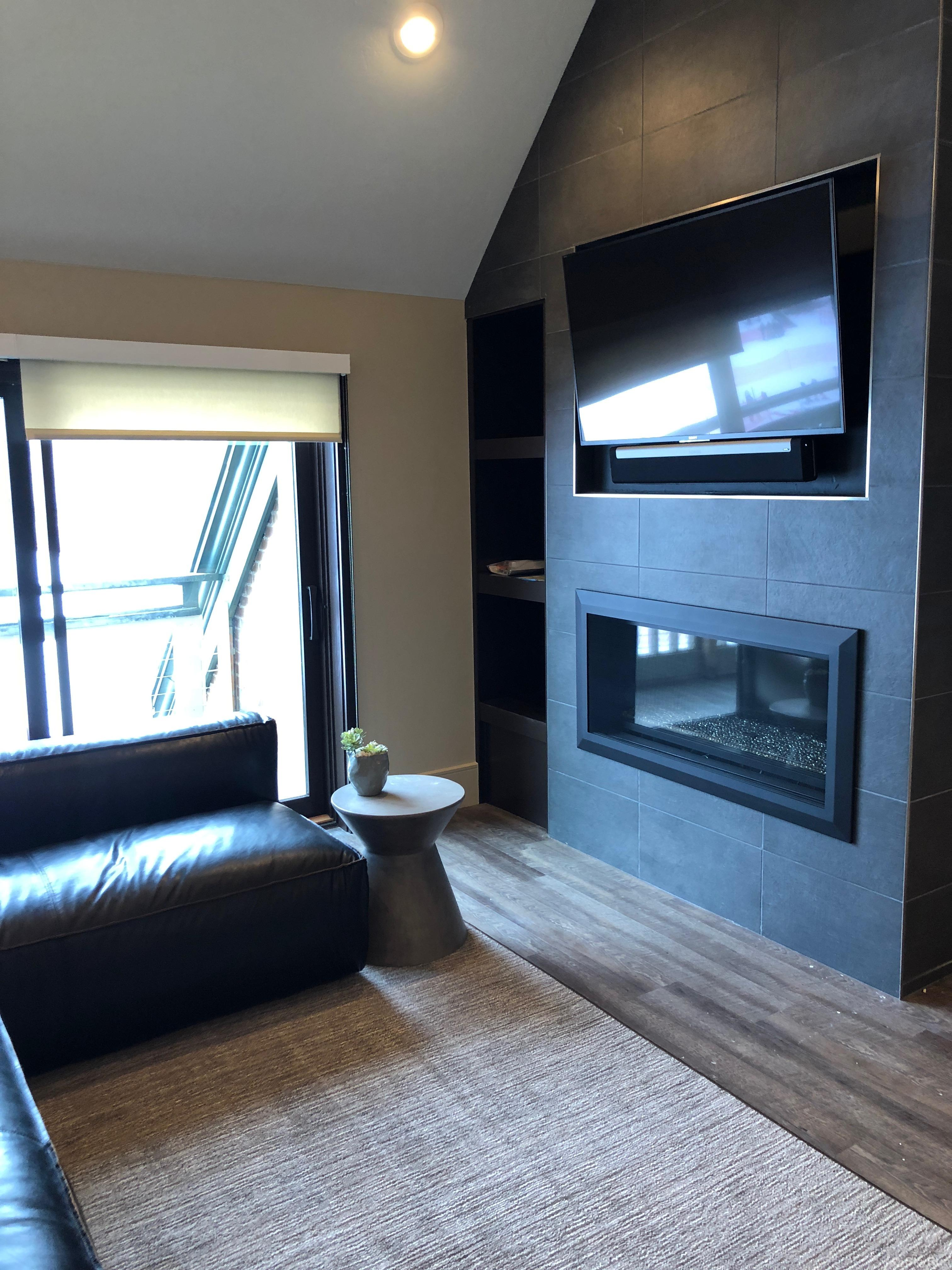 Ski Village Loft Mod Fireplace