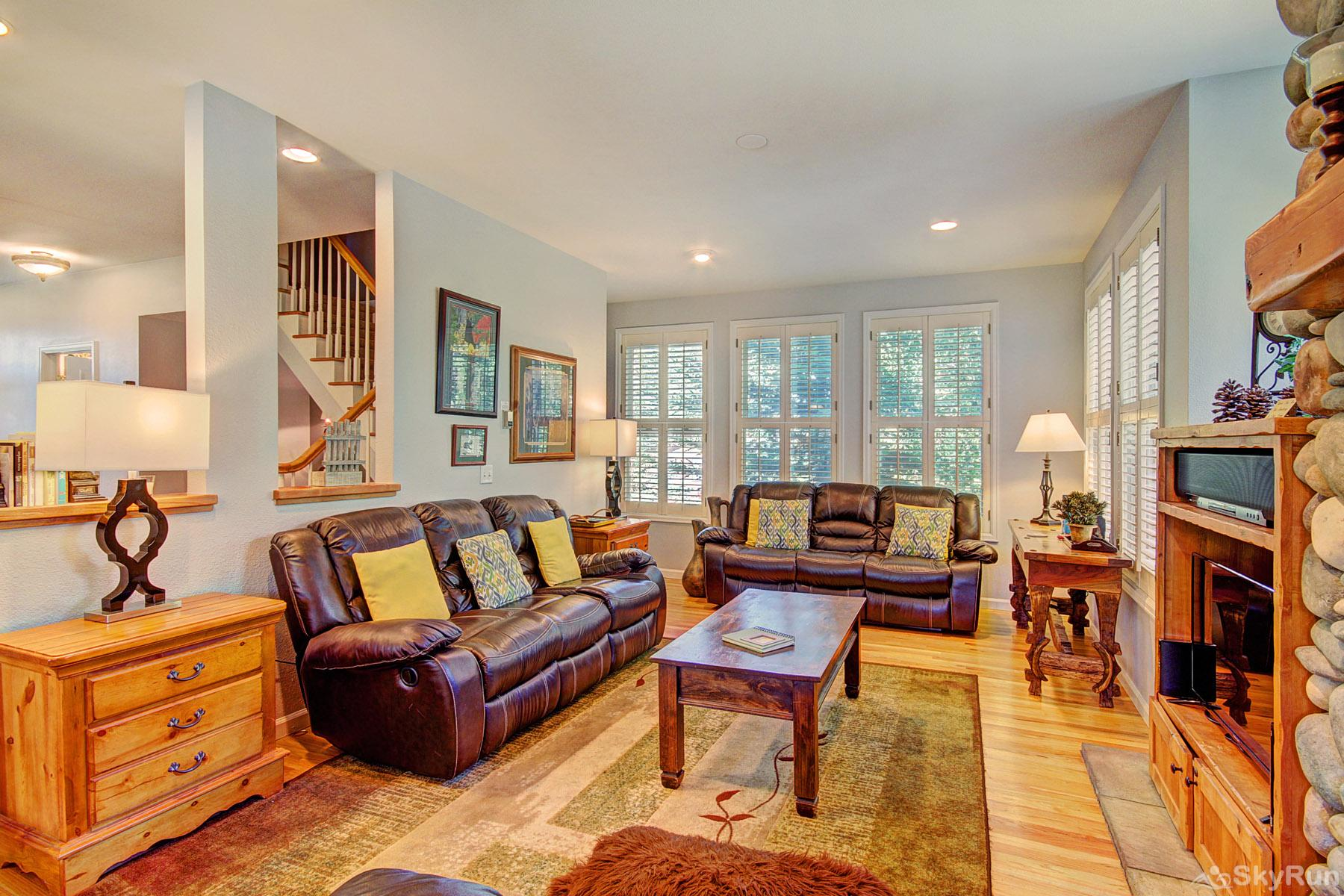 Bear Pine Chalet Upscale living room area is perfect to spend time with family and friends