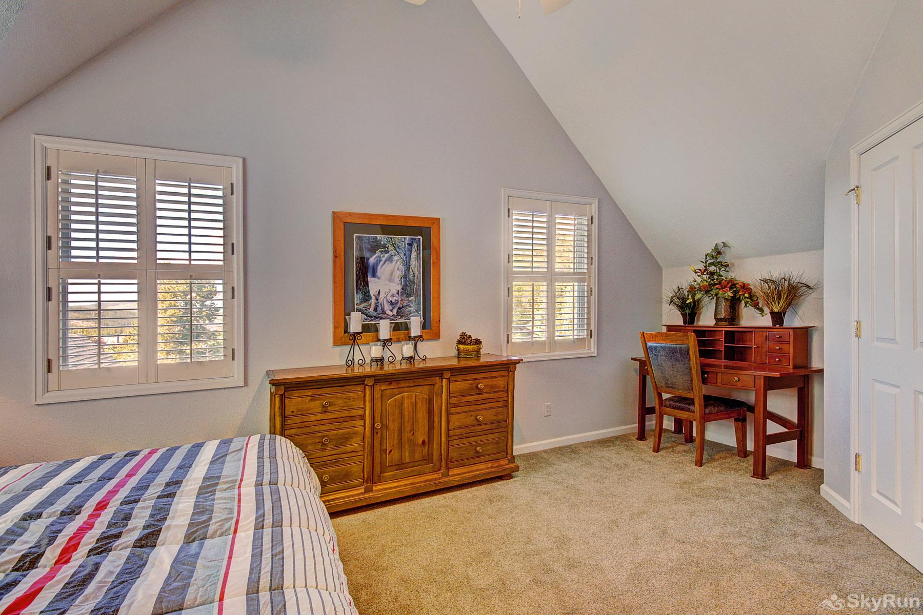Bear Pine Chalet Spacious king master bedroom with desk for added convenience