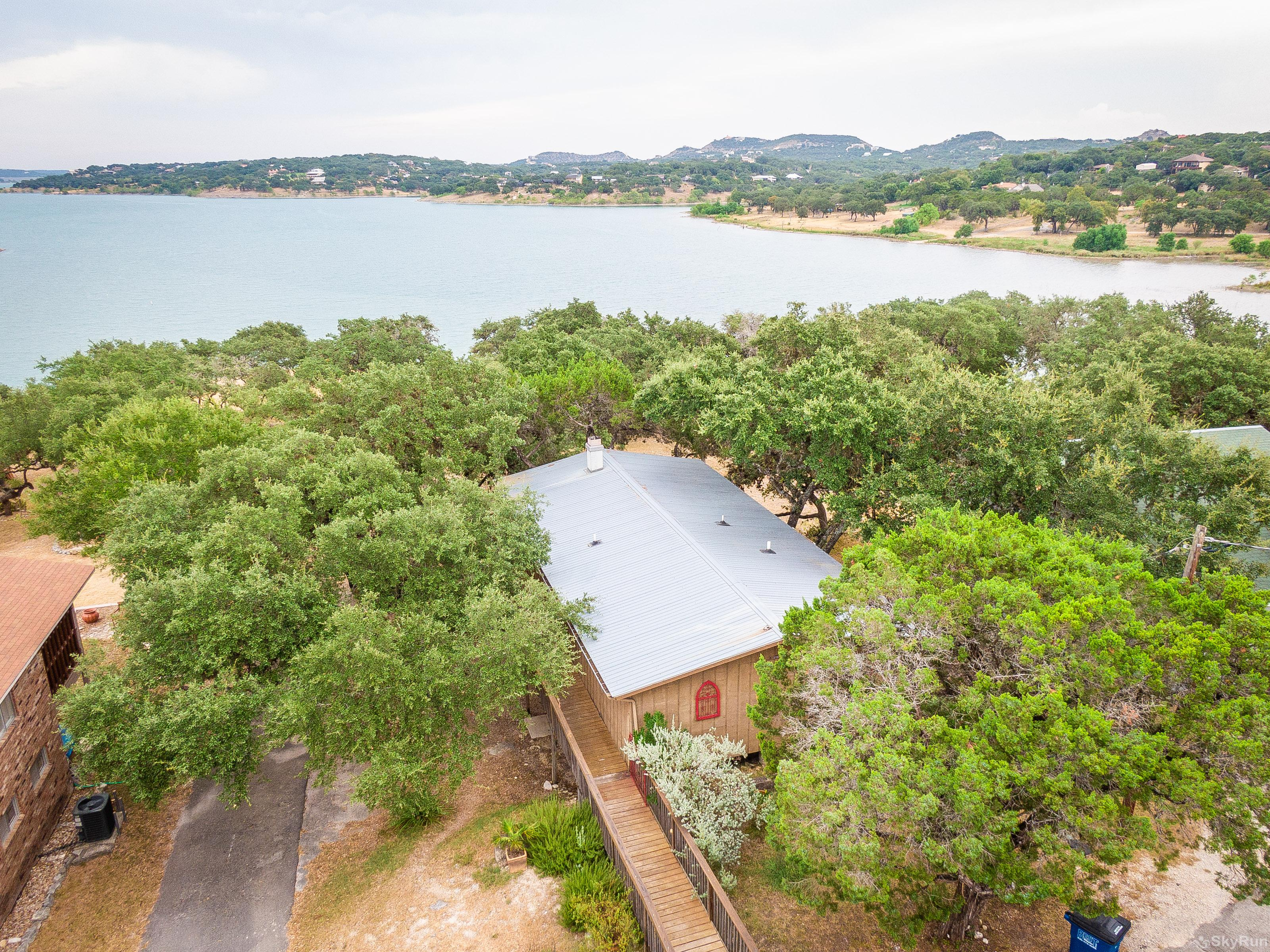 CASA DEL LAGO Aerial view of the home and Canyon Lake