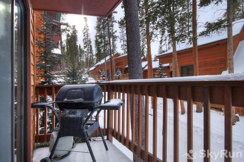 Peak 8 Village E35 BBQ propane grill on back balcony