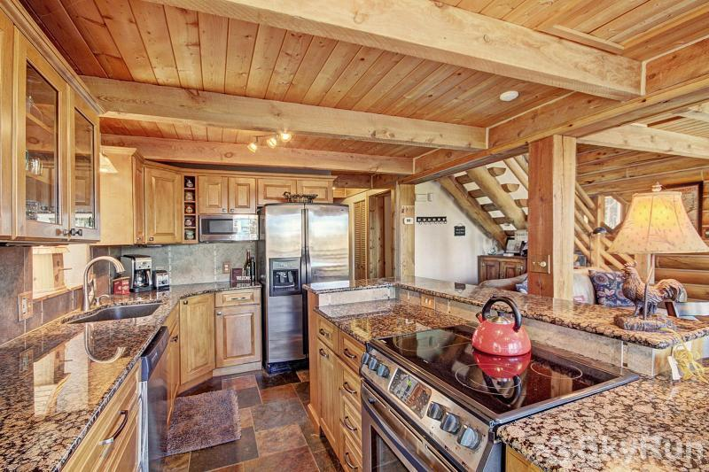 Burgett Cabin Stainless steel appliance and slab granite