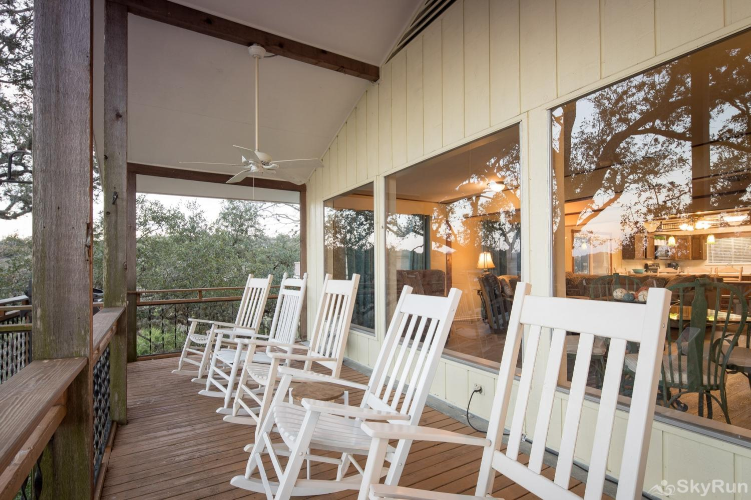TEXAS ROSE LODGE Rocking chairs are ready for you and your beverage of choice