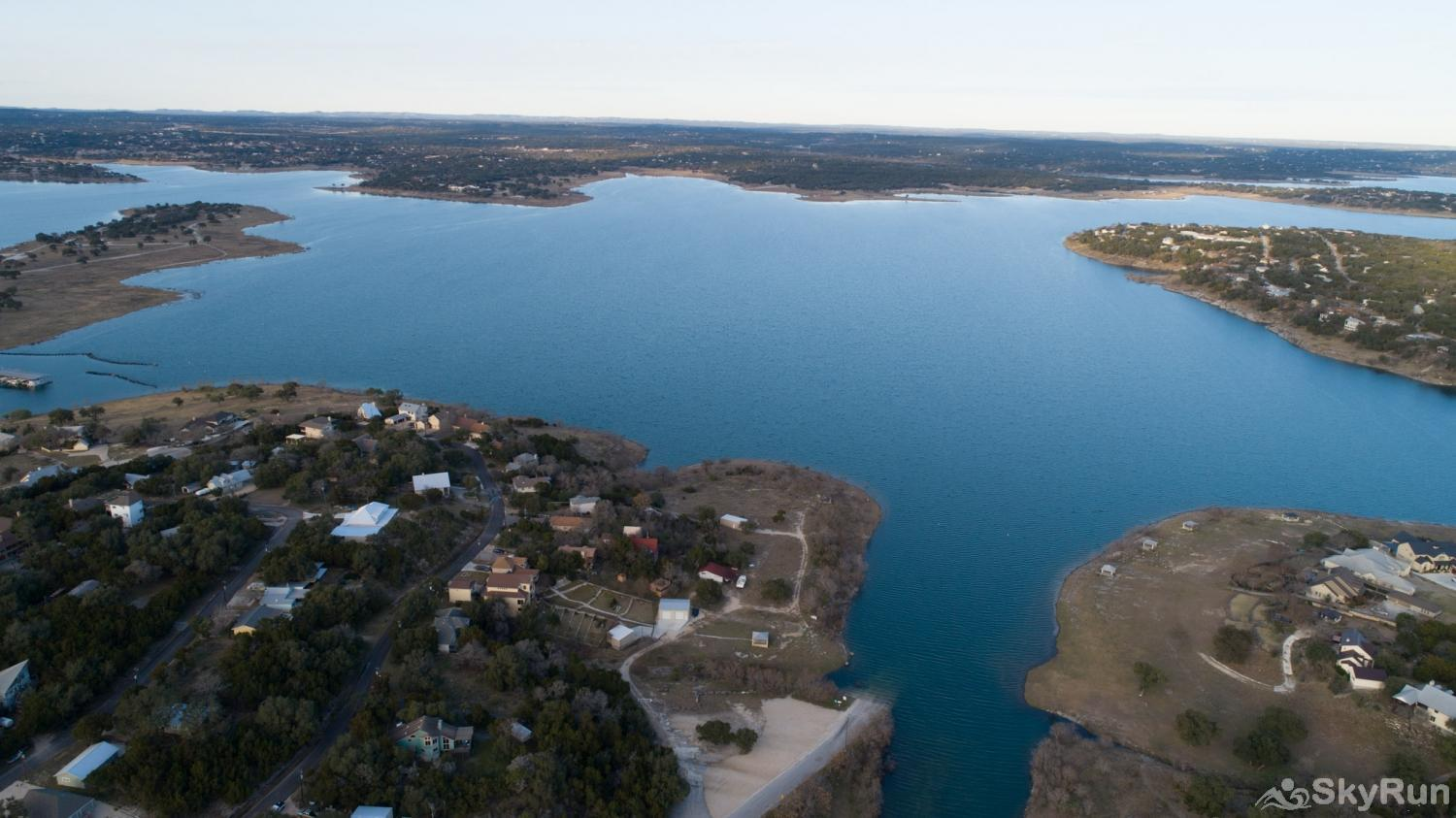TEXAS ROSE LODGE High flying aerial view from above the home