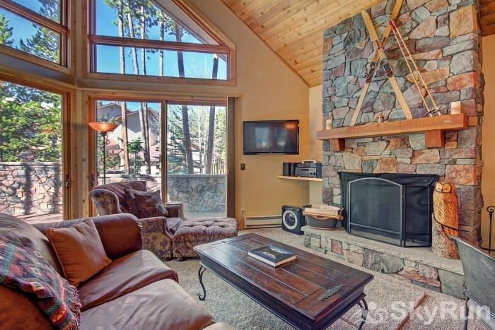 Wildernest Point Beautiful stone fireplace in living room