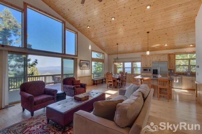 Tahoe Donner Pinnacle Loop Mountain Retreat Living /Dining Area (main level)