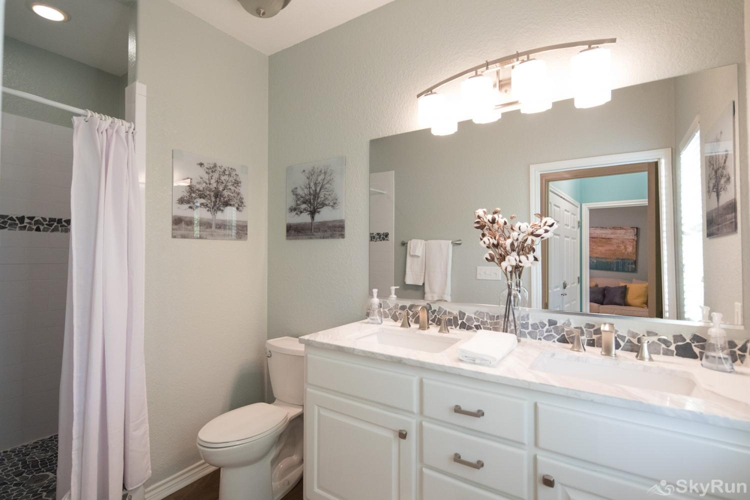PARADISE POINTE Master Bathroom with Tiled, Walk- in Shower