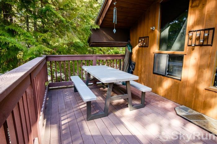 Ptarmigan Village 86 Back Deck with Picnic Table and Gas Grill