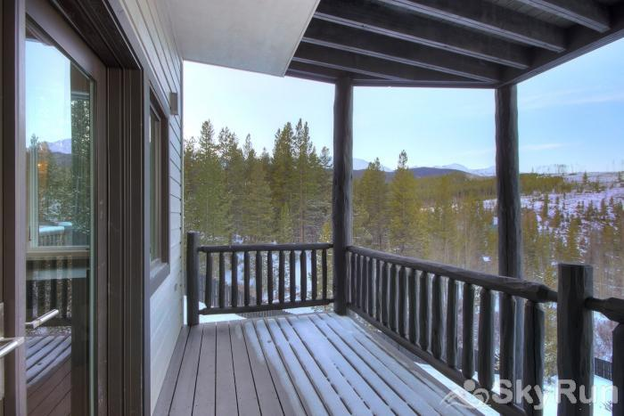The Moose Chalet Covered portion of deck offers protection from the elements