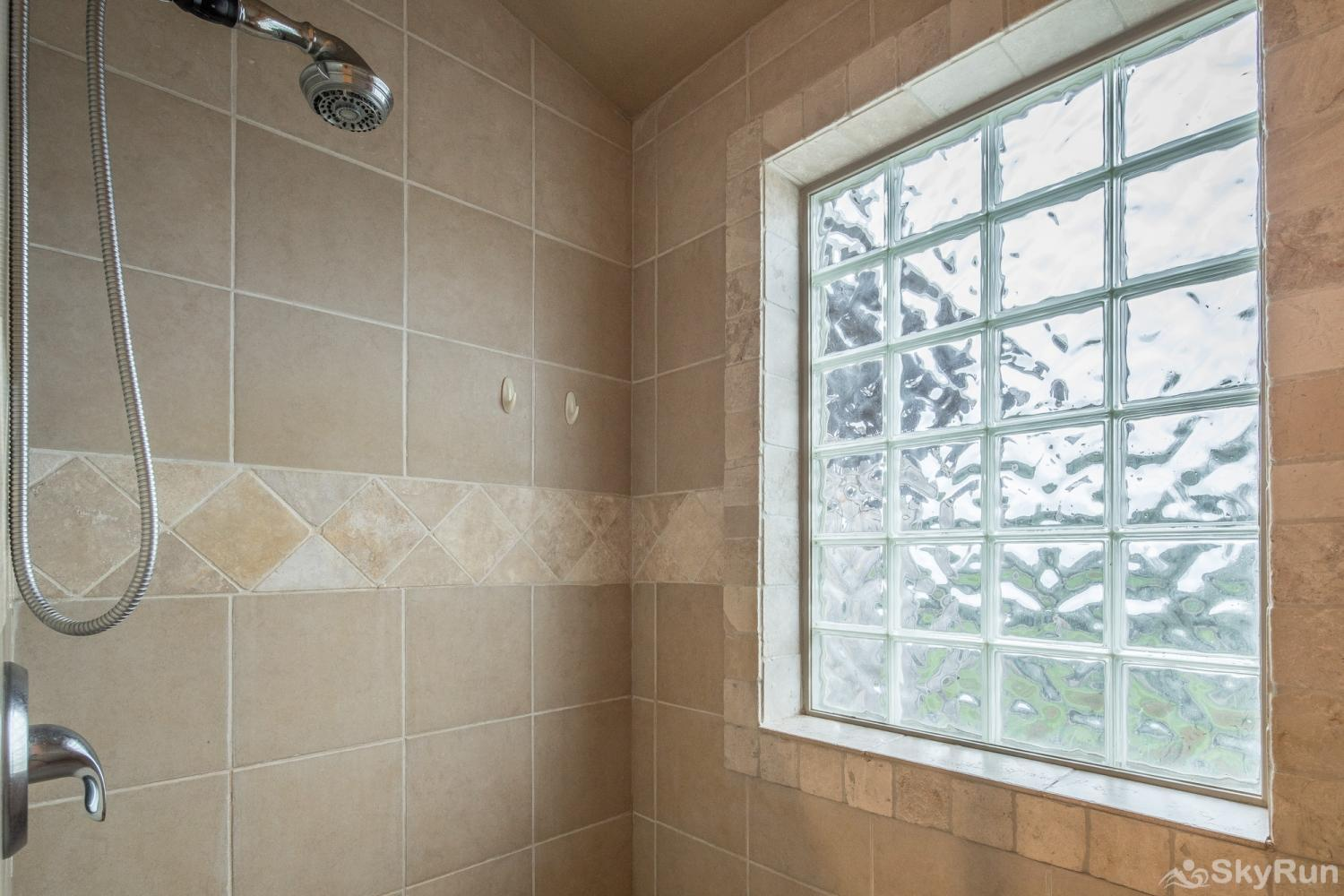 ROCK 'N' WOOD Walk-in Shower in Master Bathroom