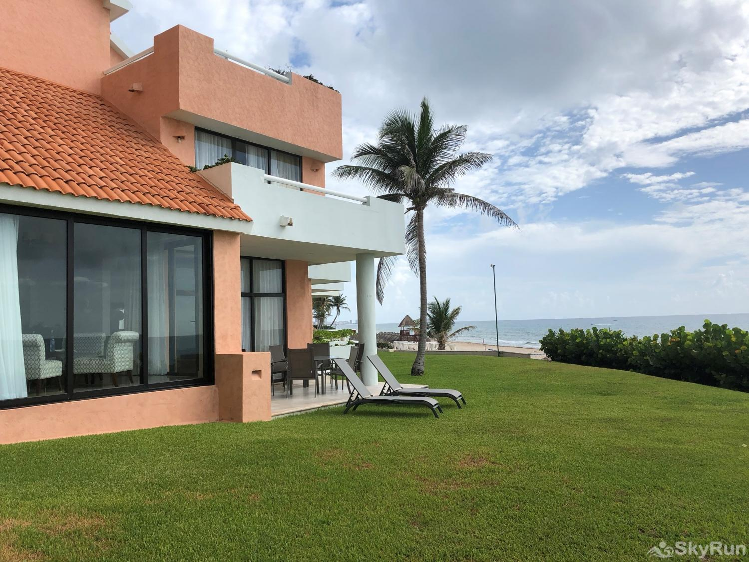 Best Beachfront Private Villa , 4Bdr | Omni Cancun Hotel and Villas PRME location Resort Kinich Villa 33 Villa 1001.  Beachfront townhome on 3 stories.